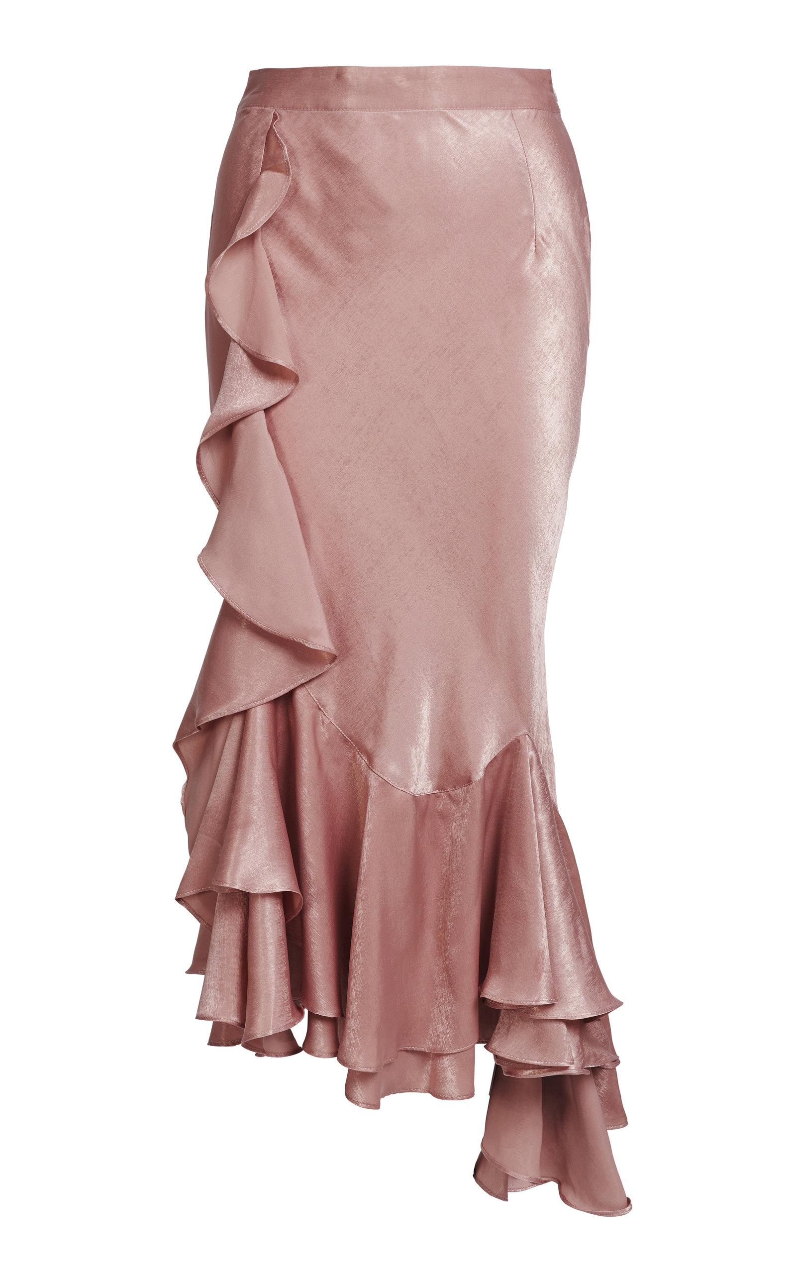 Frenchie Ruffled Taffeta Maxi Skirt in Pink
