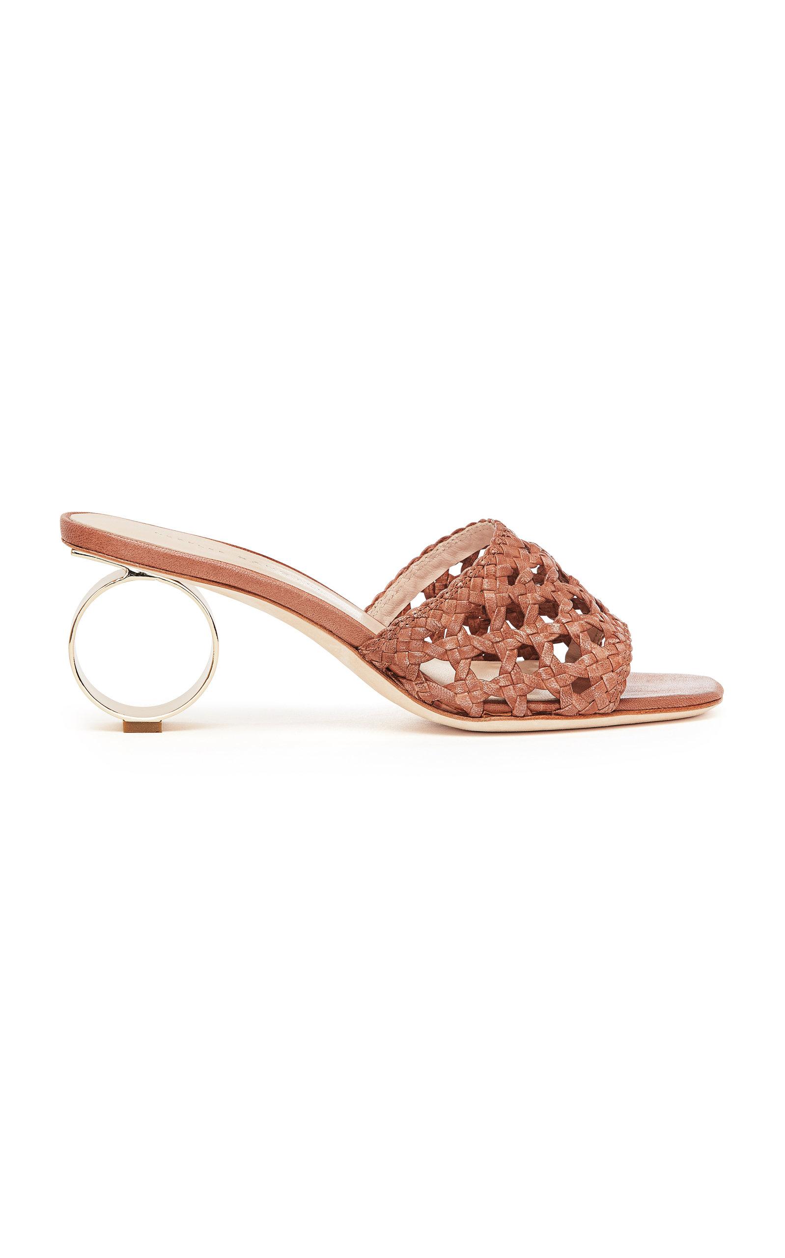 Sandals Heel Brette Leather In Brown Randall Loeffler Woven Accent qgwYntf