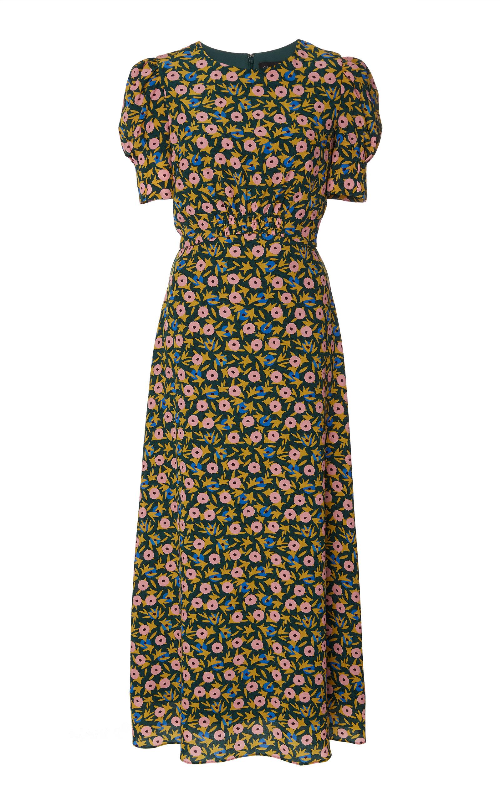 SALONI | Saloni Bianca Baroque-Print Silk Midi Dress | Goxip