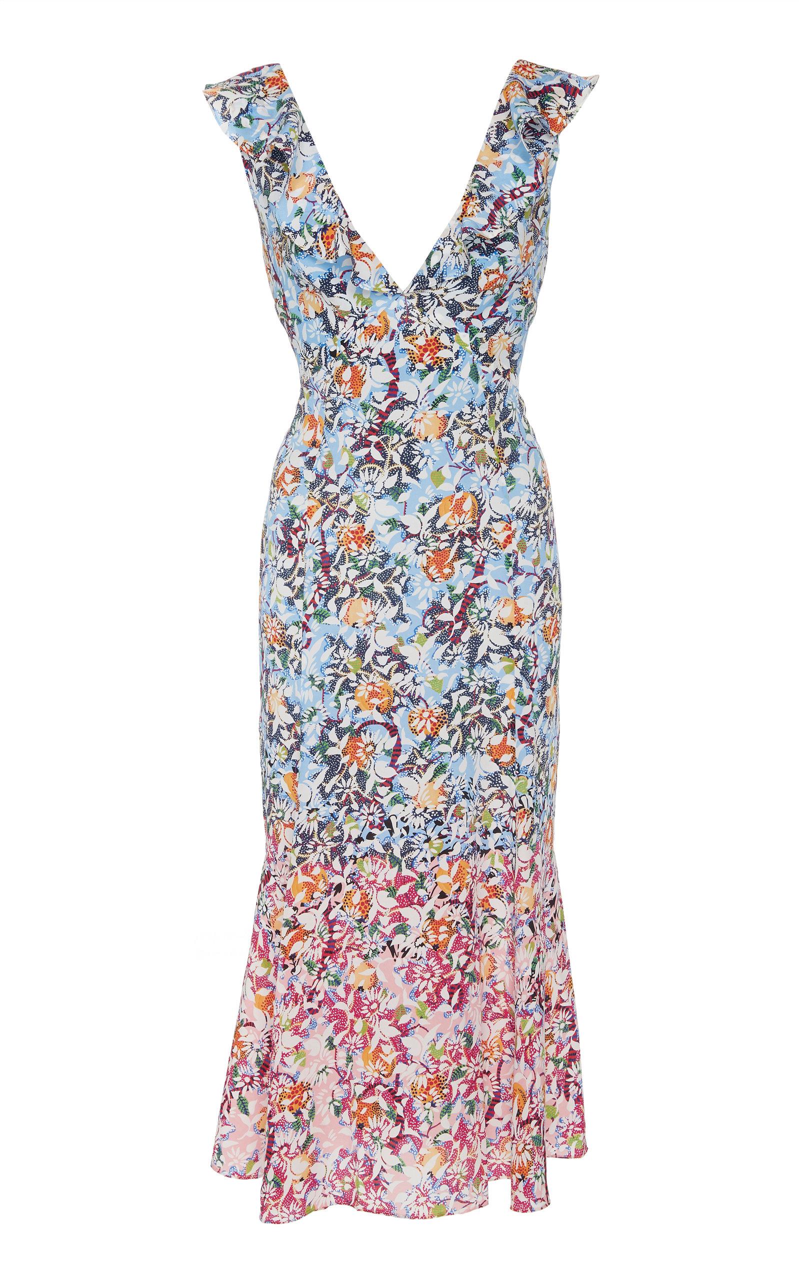 Holly Floral Print Silk Midi Dress by Saloni