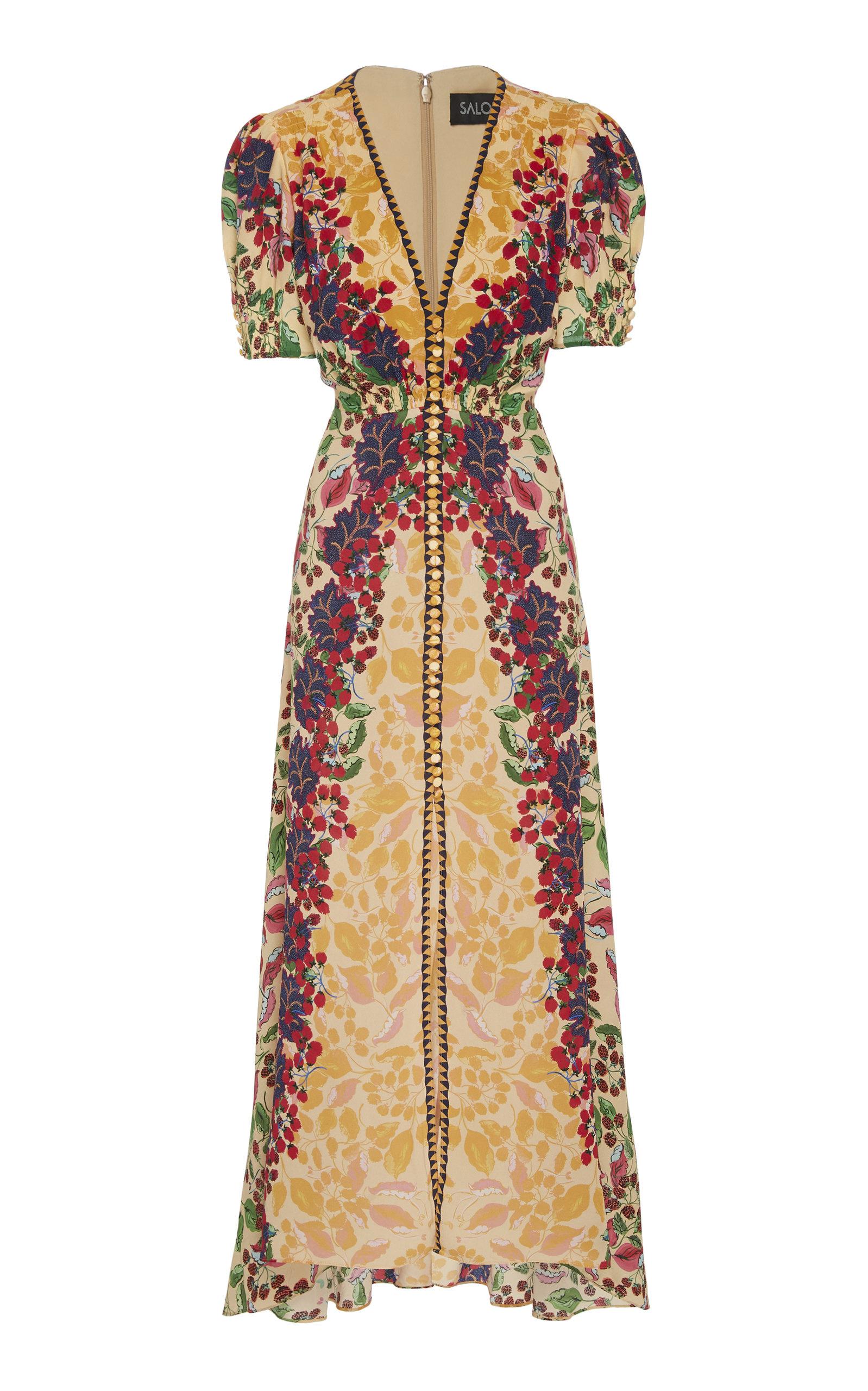 SALONI | Saloni Lea Printed Silk-Georgette Midi Dress | Goxip
