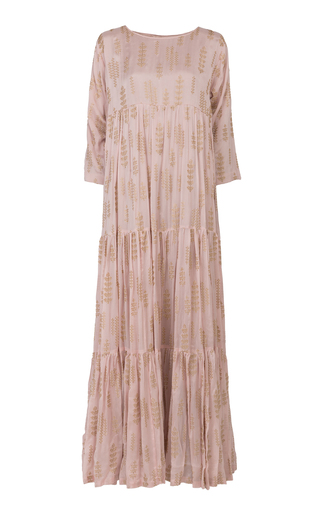 BTHAINA | Bthaina All Over Gold Embroidered Tiered Georgette Caftan | Goxip
