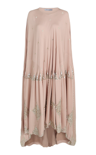 BTHAINA | Bthaina Oversized Embroidered Georgette High-Low Caftan | Goxip