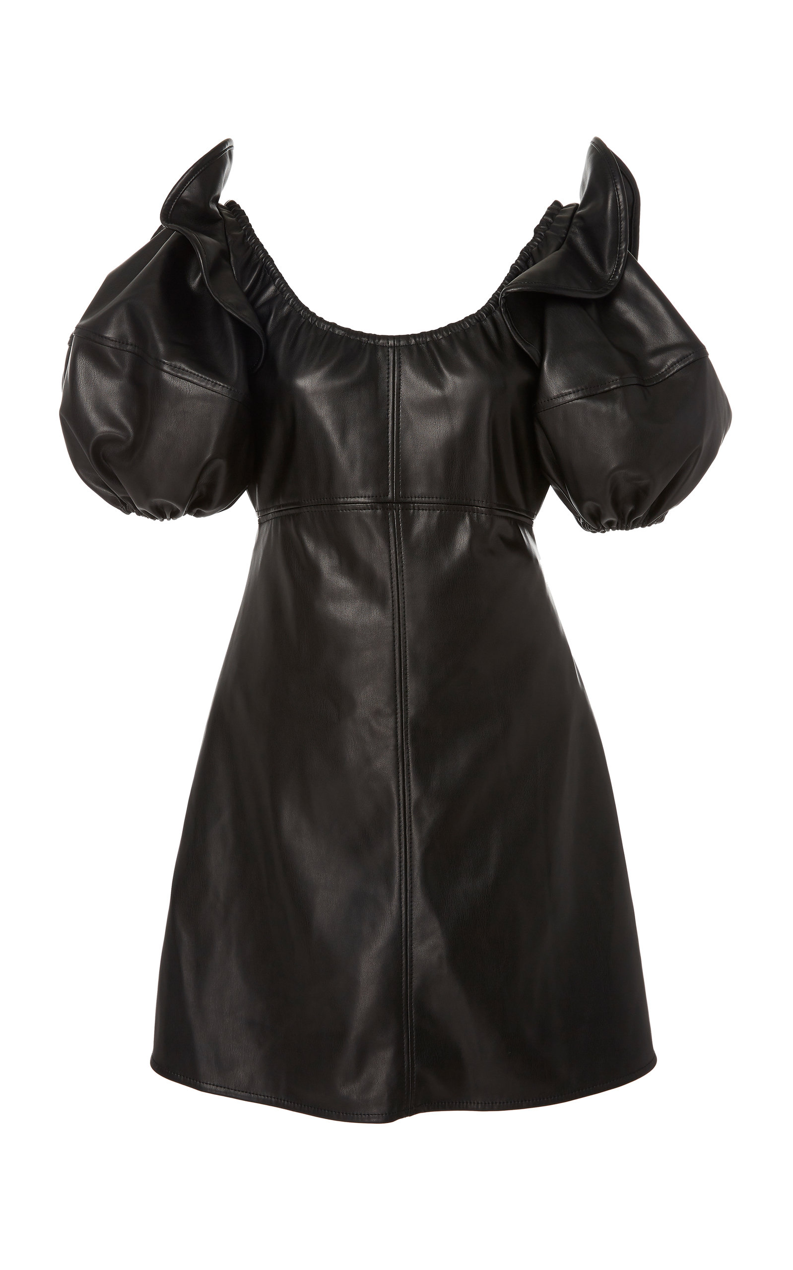 Valeria Off Shoulder Faux Leather Mini Dress by Ellery