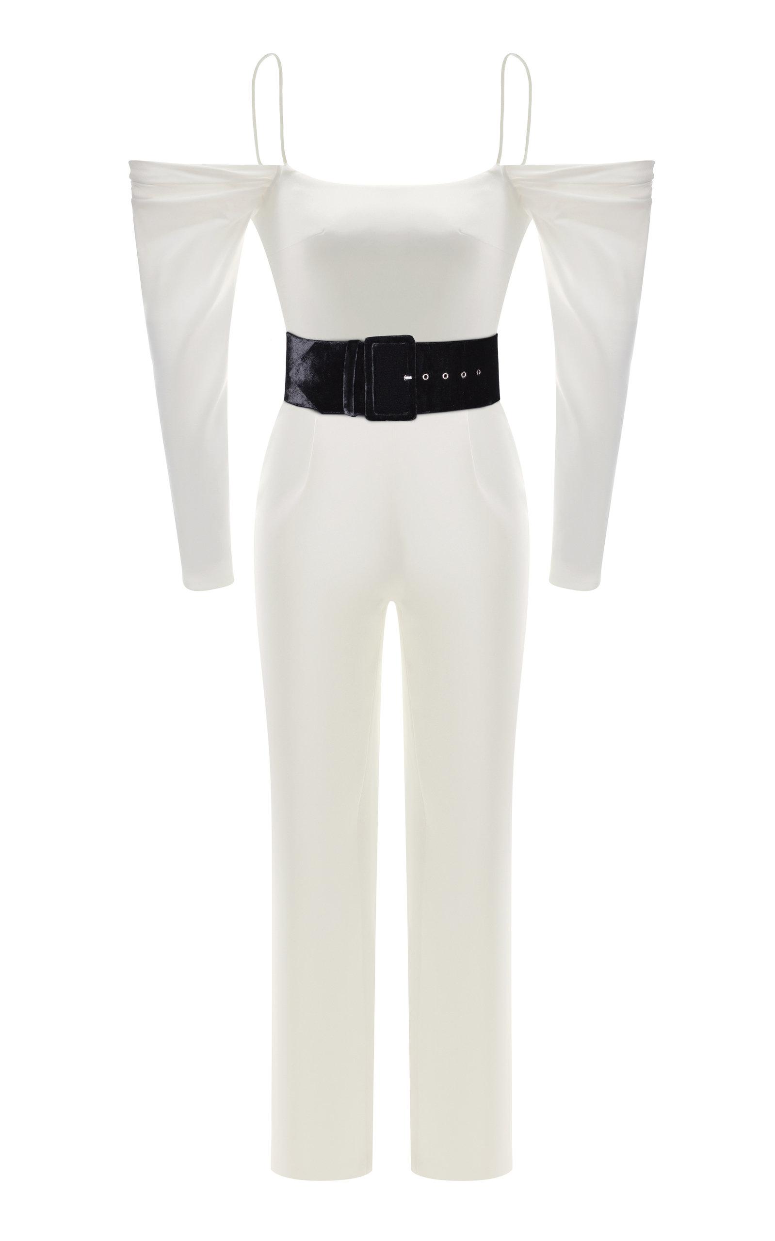 207add6d93f3 Rasario Cold Shoulder Satin Slim-Leg Jumpsuit In White