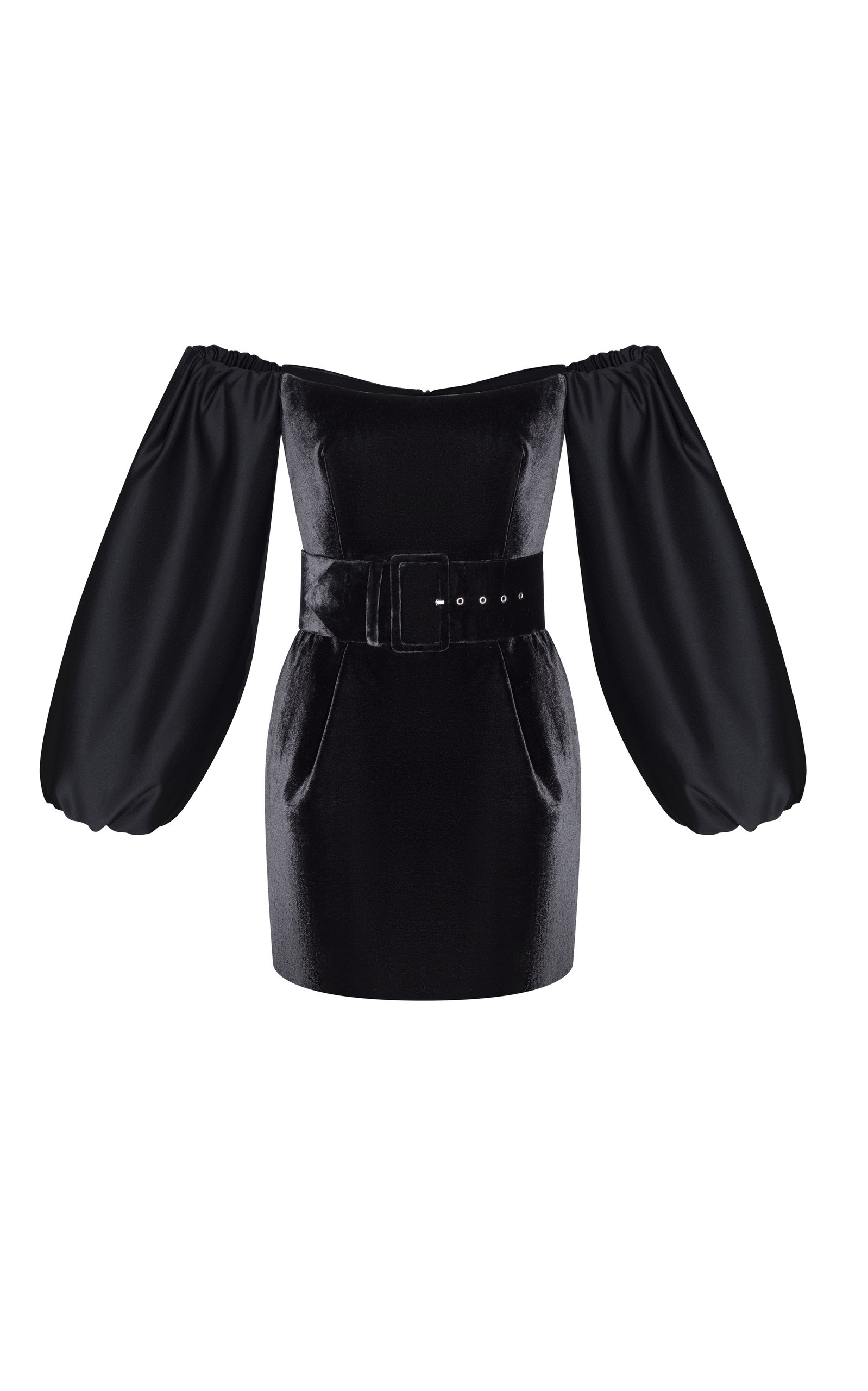 4ad77516bbd Off-Shoulder Belted Satin And Velvet Mini Dress by Rasario   Moda ...