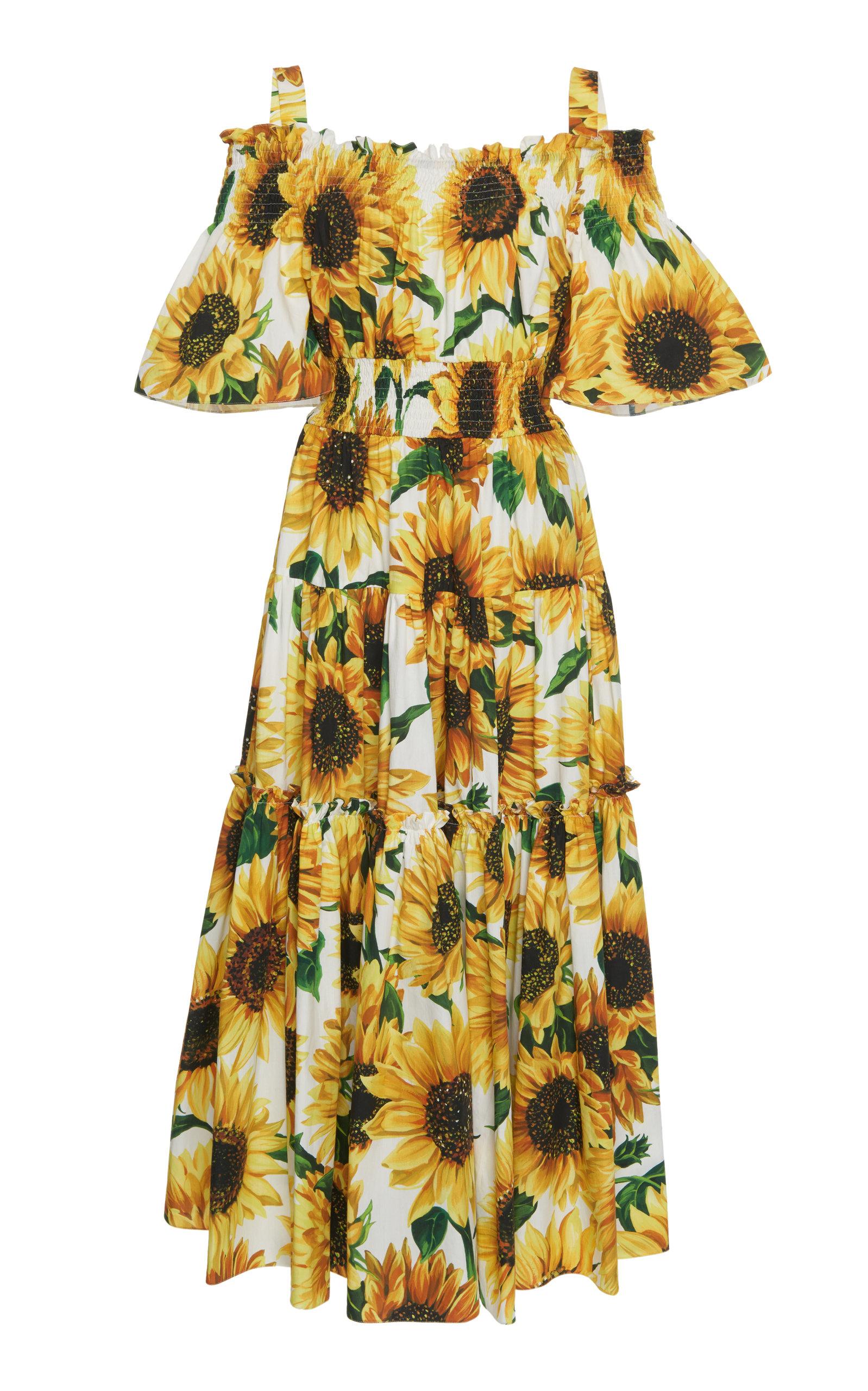 d274b26a Dolce & GabbanaOff-The-Shoulder Smocked Floral-Print Cotton Maxi Dress