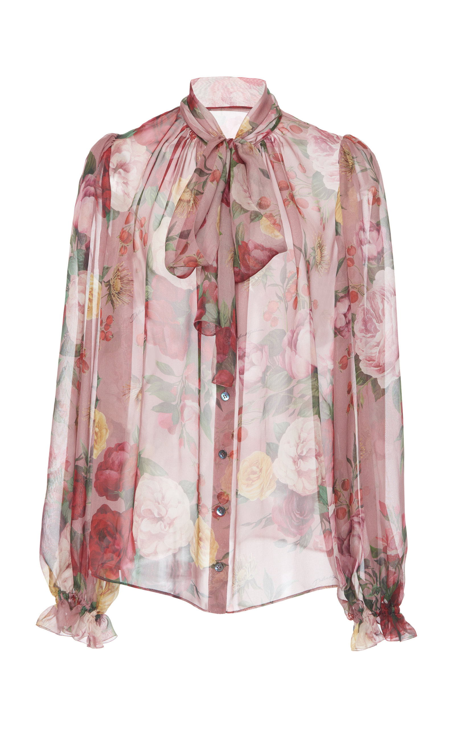 43d23271b898c Printed Pussy-Bow Silk-Chiffon Blouse by Dolce   Gabbana