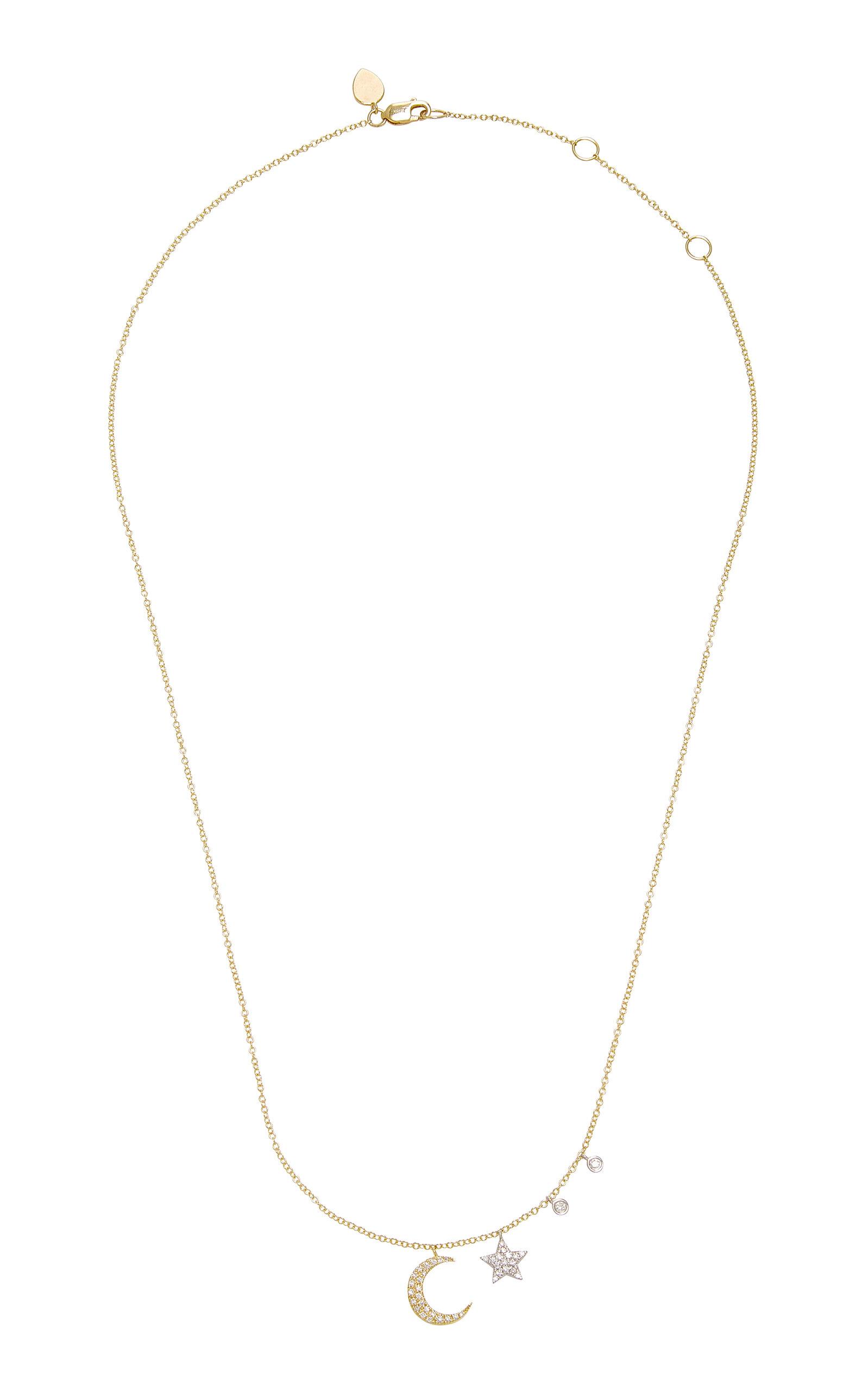 2b9f1e9b01153 Diamond Moon 14K Gold Diamond Necklace