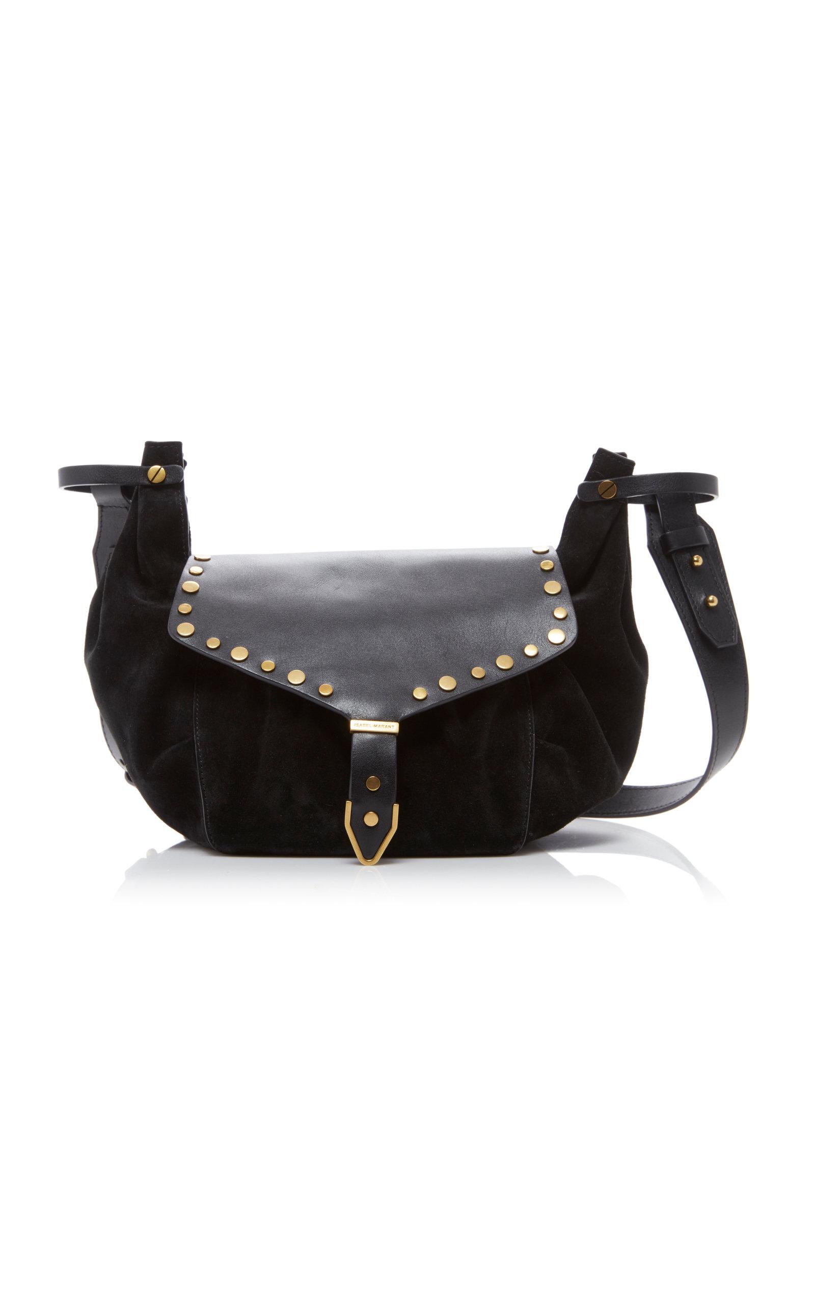 ISABEL MARANT | Isabel Marant Sinley Studded Leather And Velvet Shoulder Bag | Goxip