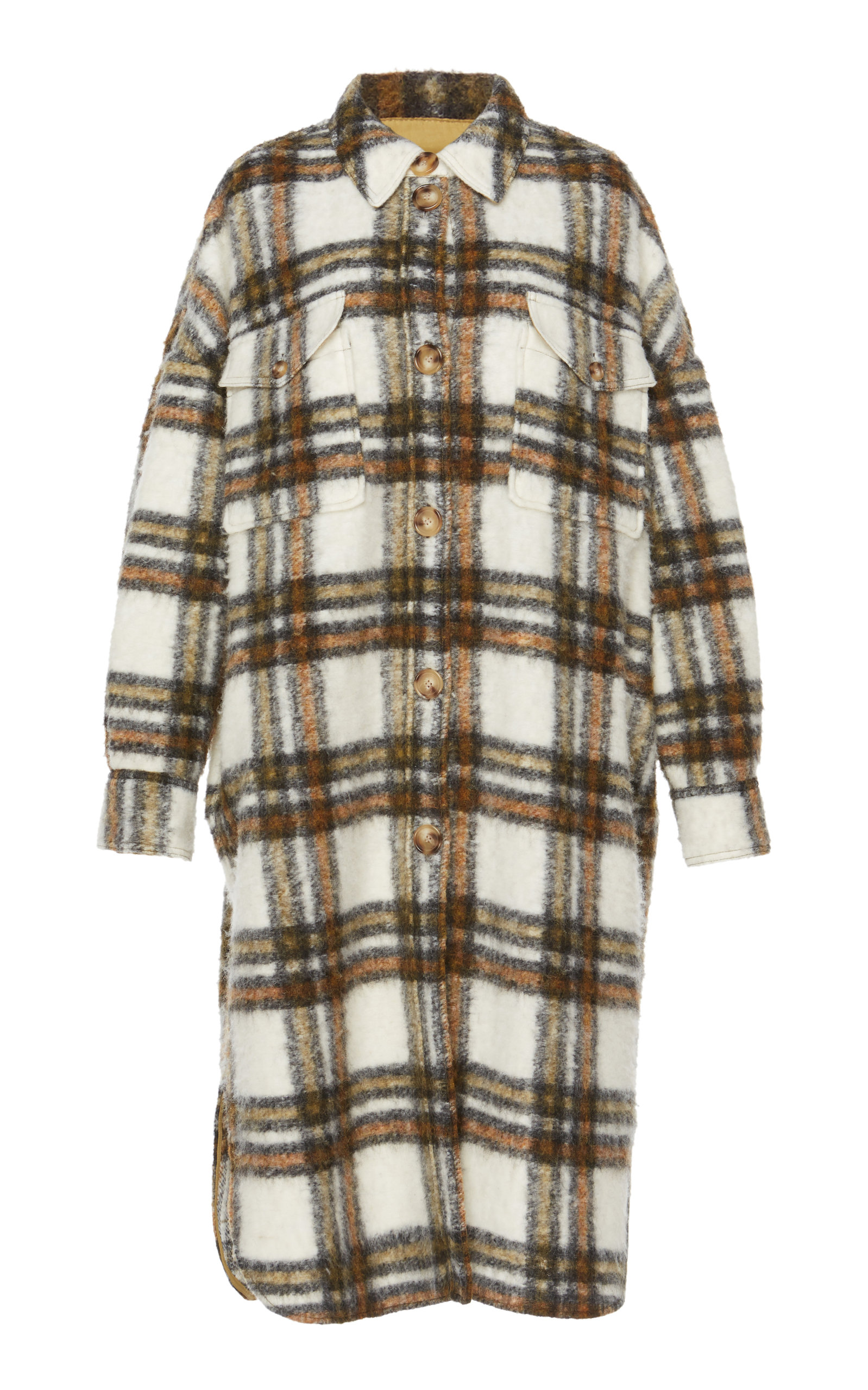 ISABEL MARANT ÉTOILE | Isabel Marant Étoile Gabrion Checked Brushed Wool-Blend Coat | Goxip