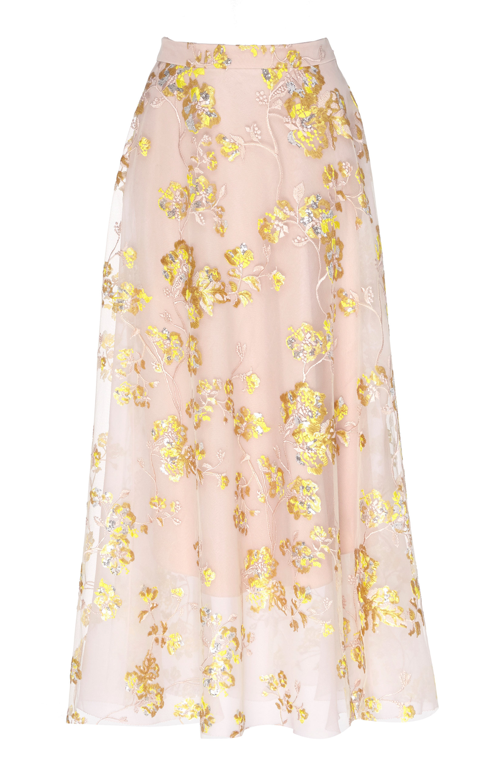 5c1636863a8f Floral-Embroidered Tulle Maxi Skirt by DELPOZO
