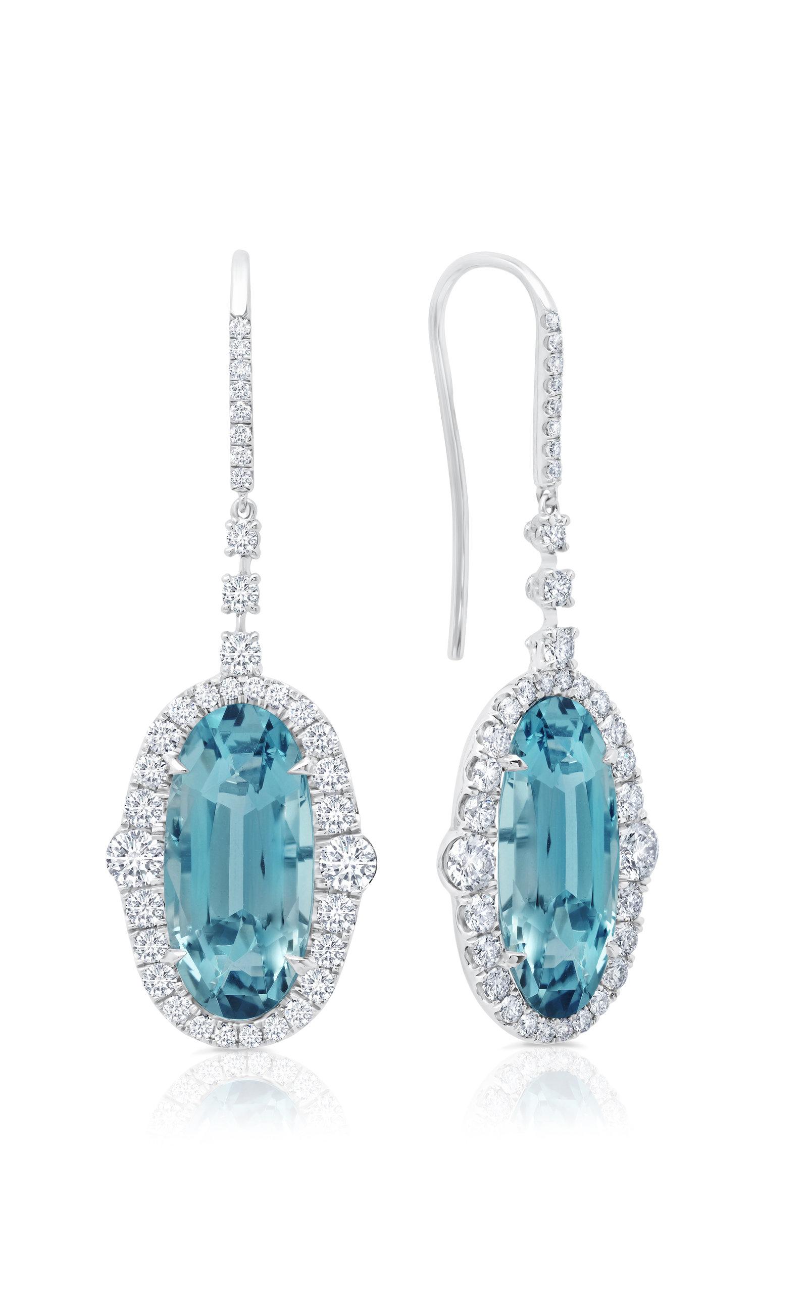 Blue 4-Carat Aquamarine Drop Earrings