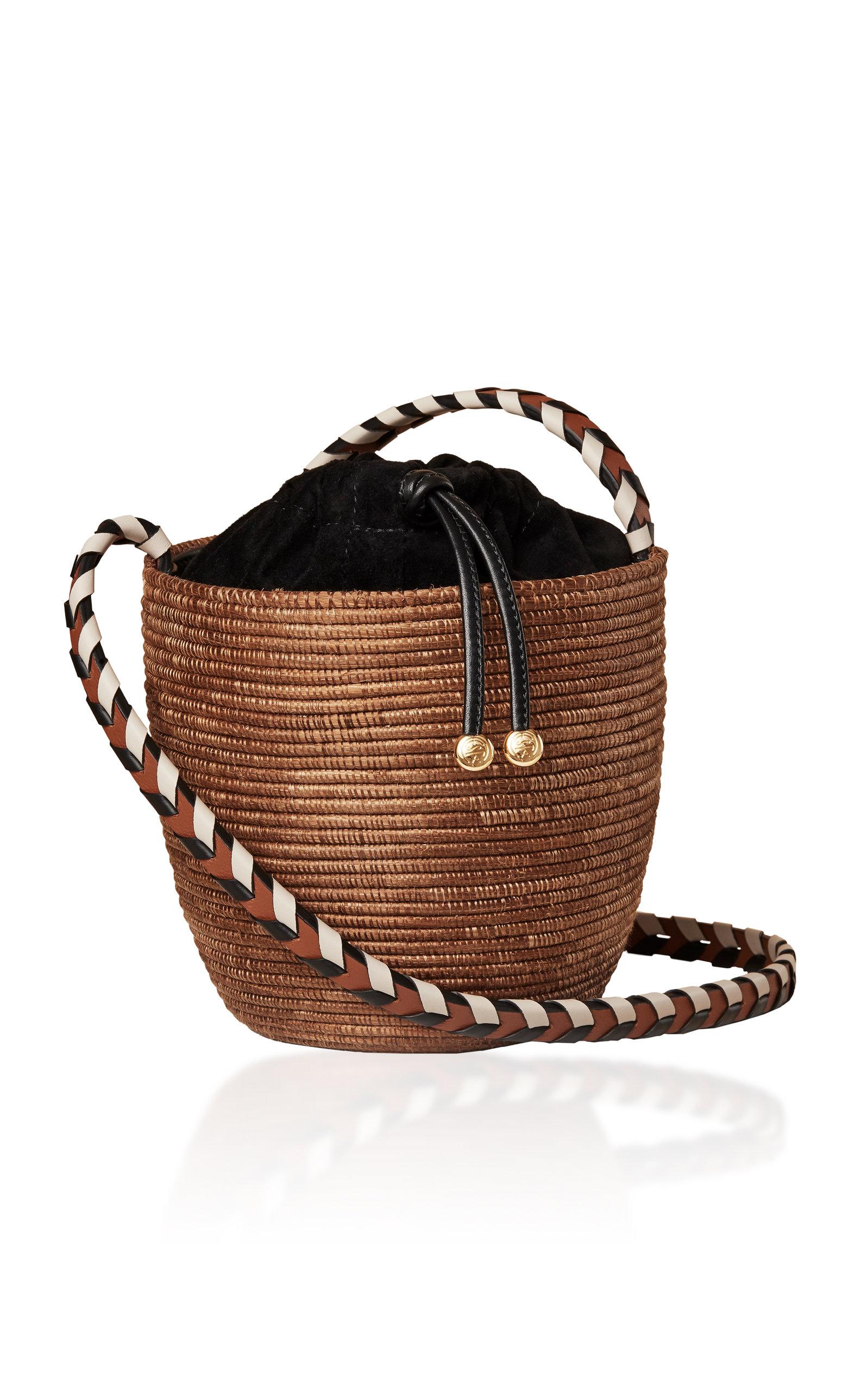 Cesta Collective Lunchpail Suede-Trimmed Straw Shoulder Bag
