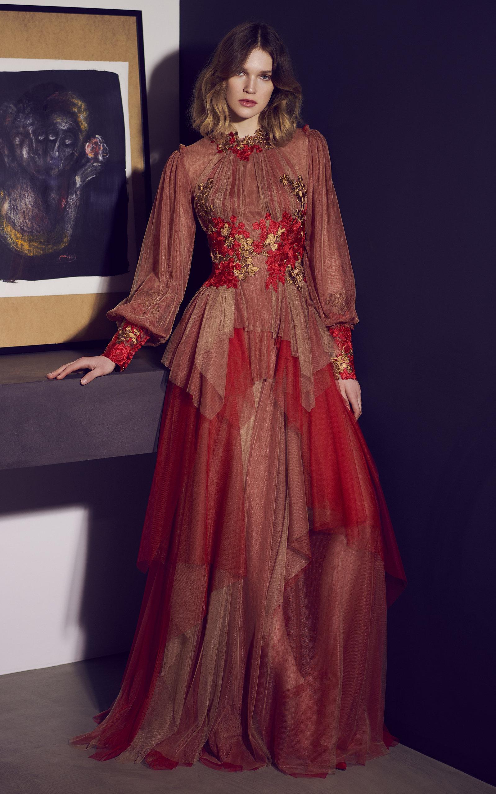 Costarellos Dresses Draped Floral-Appliquéd Tulle Gown