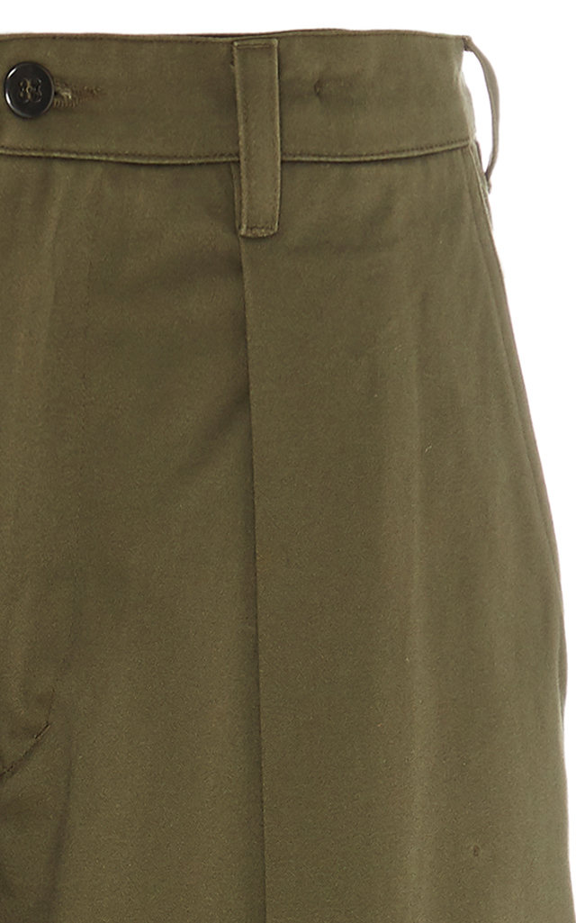 Pleated Cotton-Twill Riding Pants