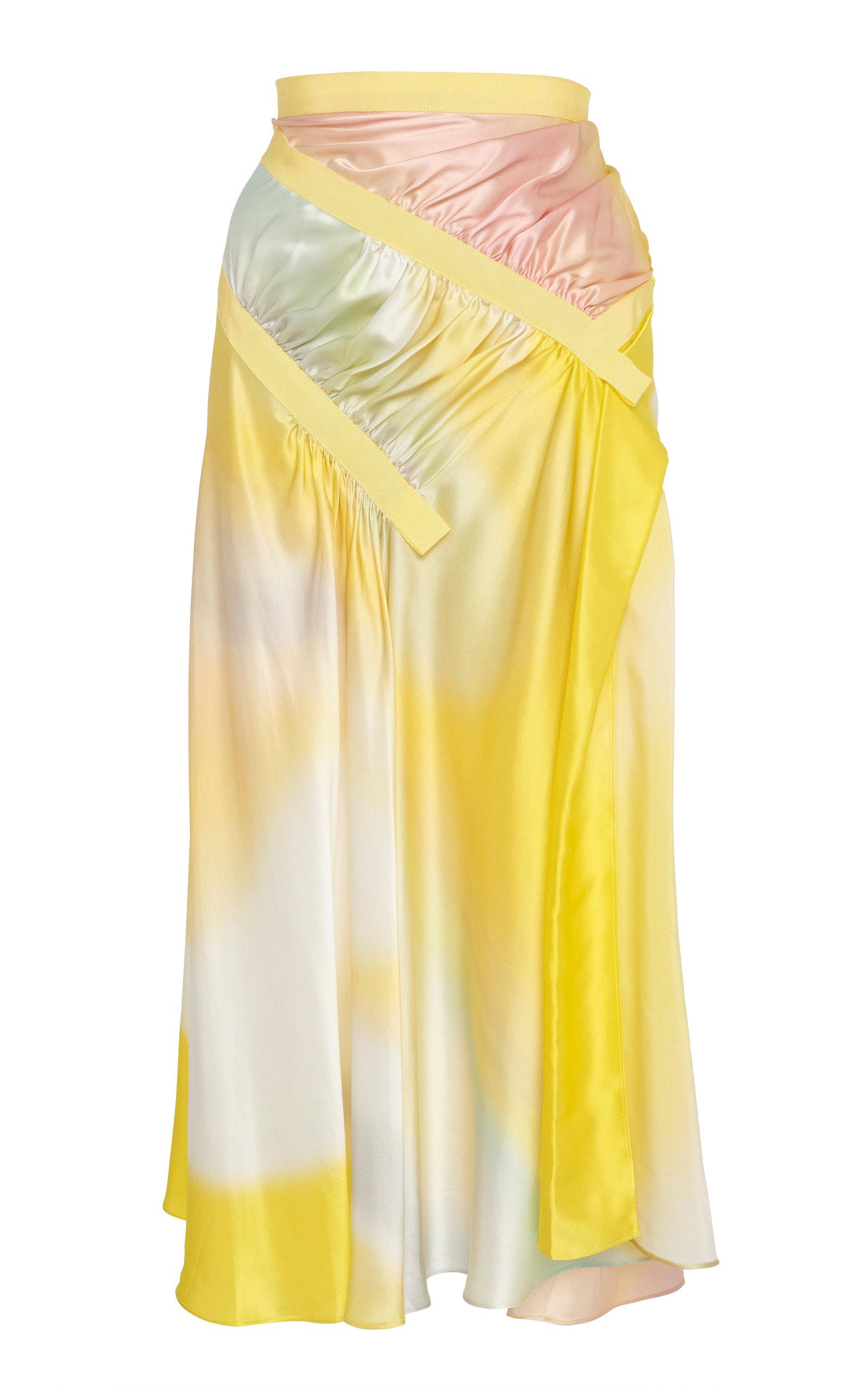 Christopher Esber Ruched Grosgrain-Trimmed Silk-Satin Midi Skirt