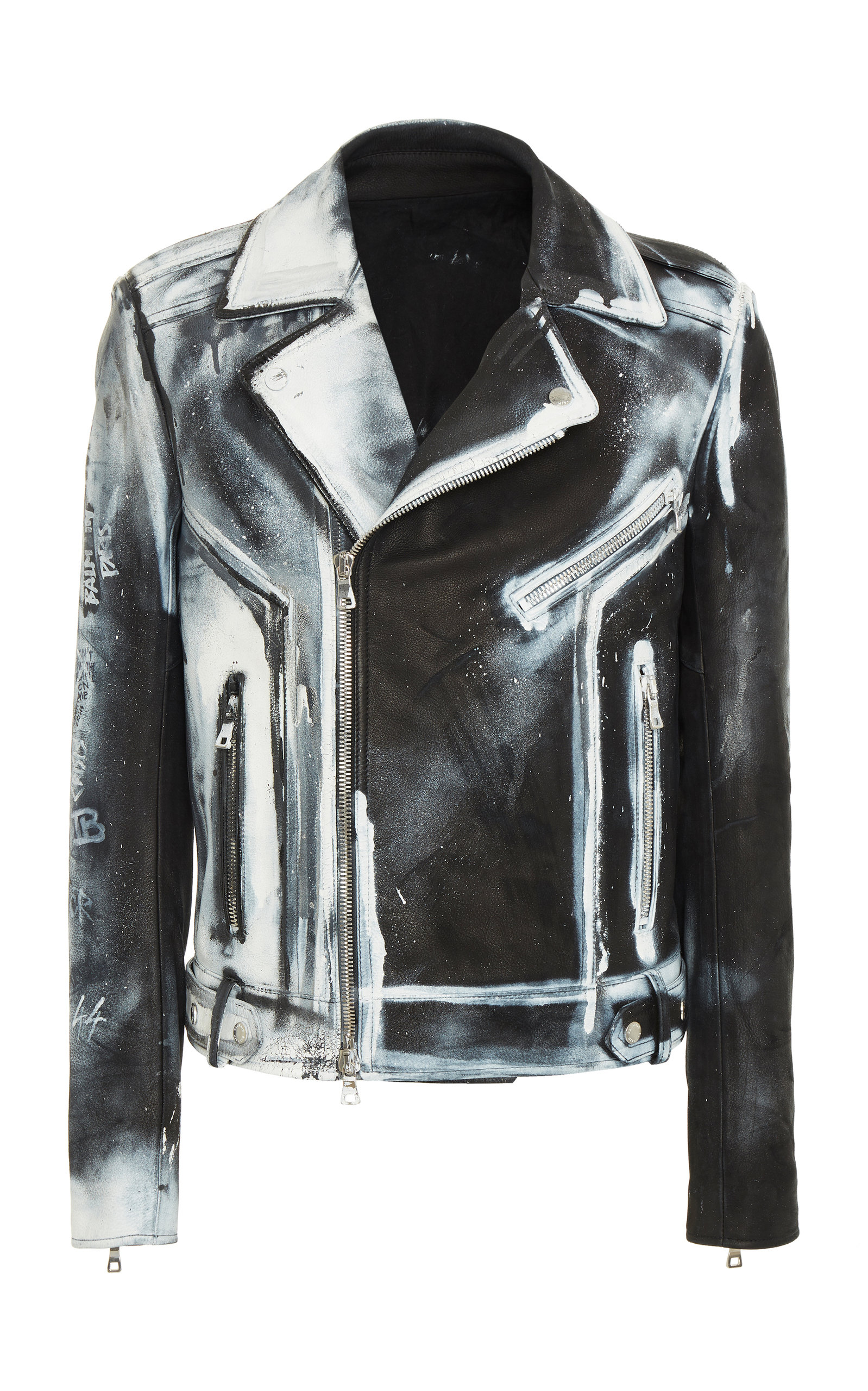 6b575d9a Spray Leather Perfecto And Studs Denim Jacket by Balmain | Moda Operandi