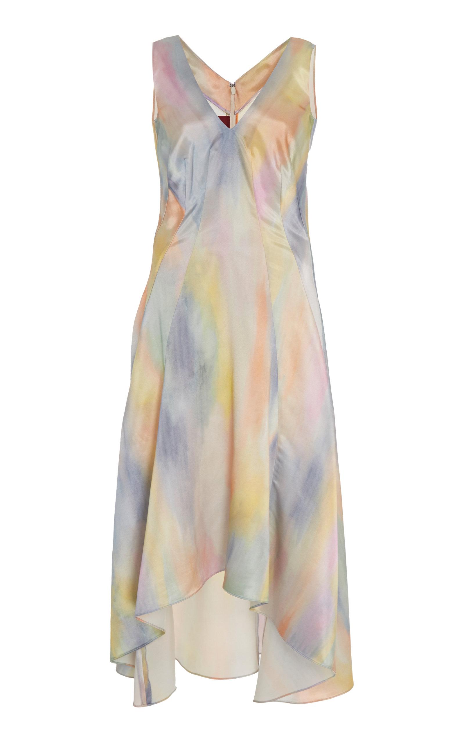 Sies Marjan Dresses Miriam Asymmetrical Printed Satin Midi Dress