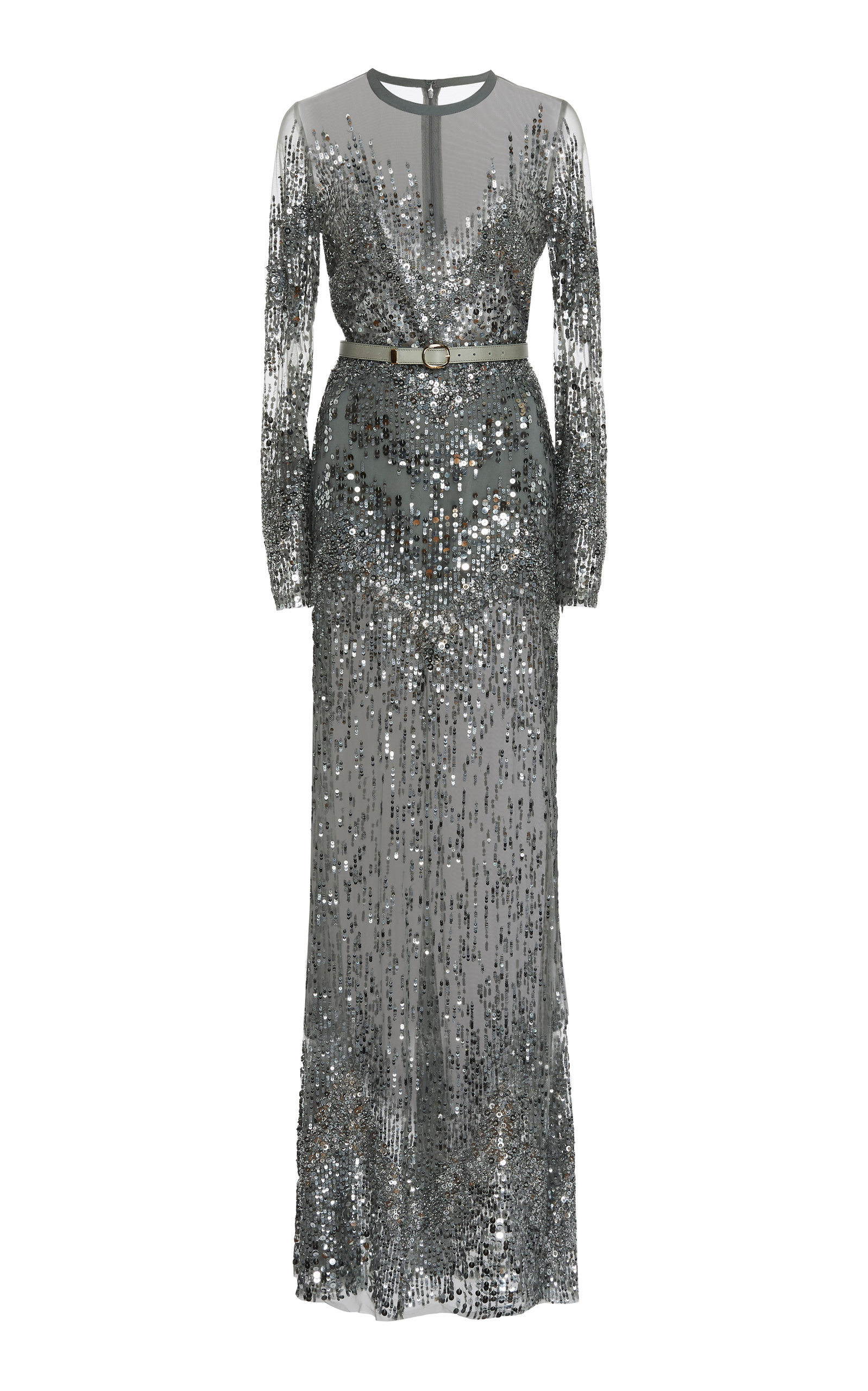 0d507167b63 Elie SaabSequin Embroidered Tulle Long Sleeve Gown. CLOSE. Loading