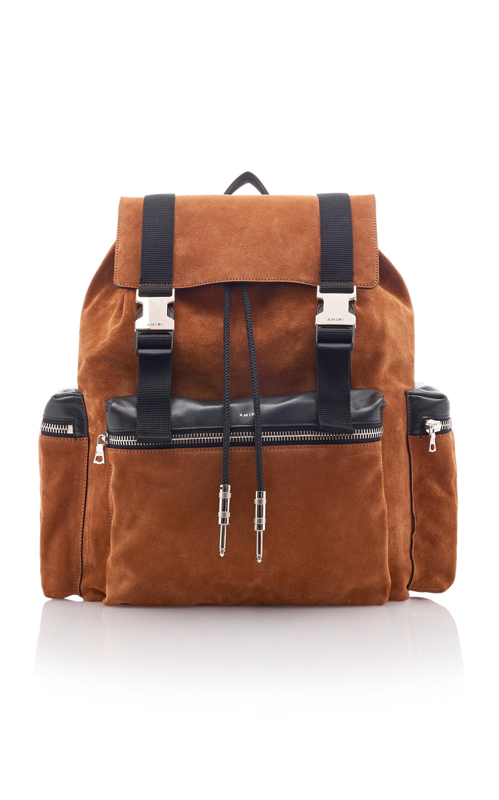 Amiri Backpacks Leather-Trimmed Suede Backpack