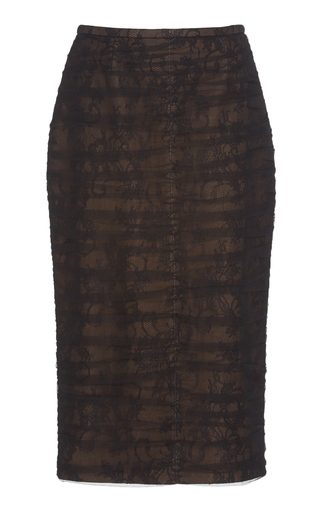 ROCHAS   Rochas Ruched Chantilly Lace Pencil Skirt   Goxip
