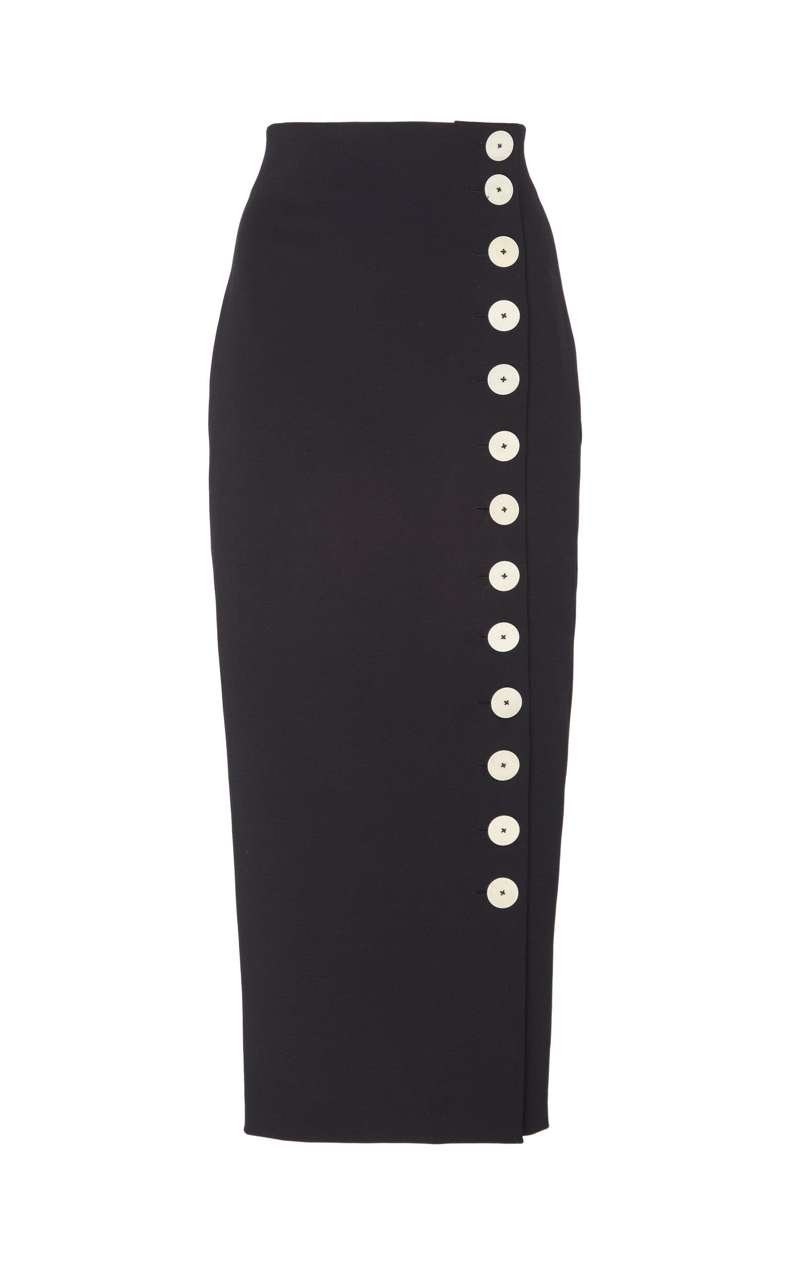 40811f879d94 Button-Detailed Cotton-Blend Midi Skirt by A.W.A.K.E. | Moda Operandi