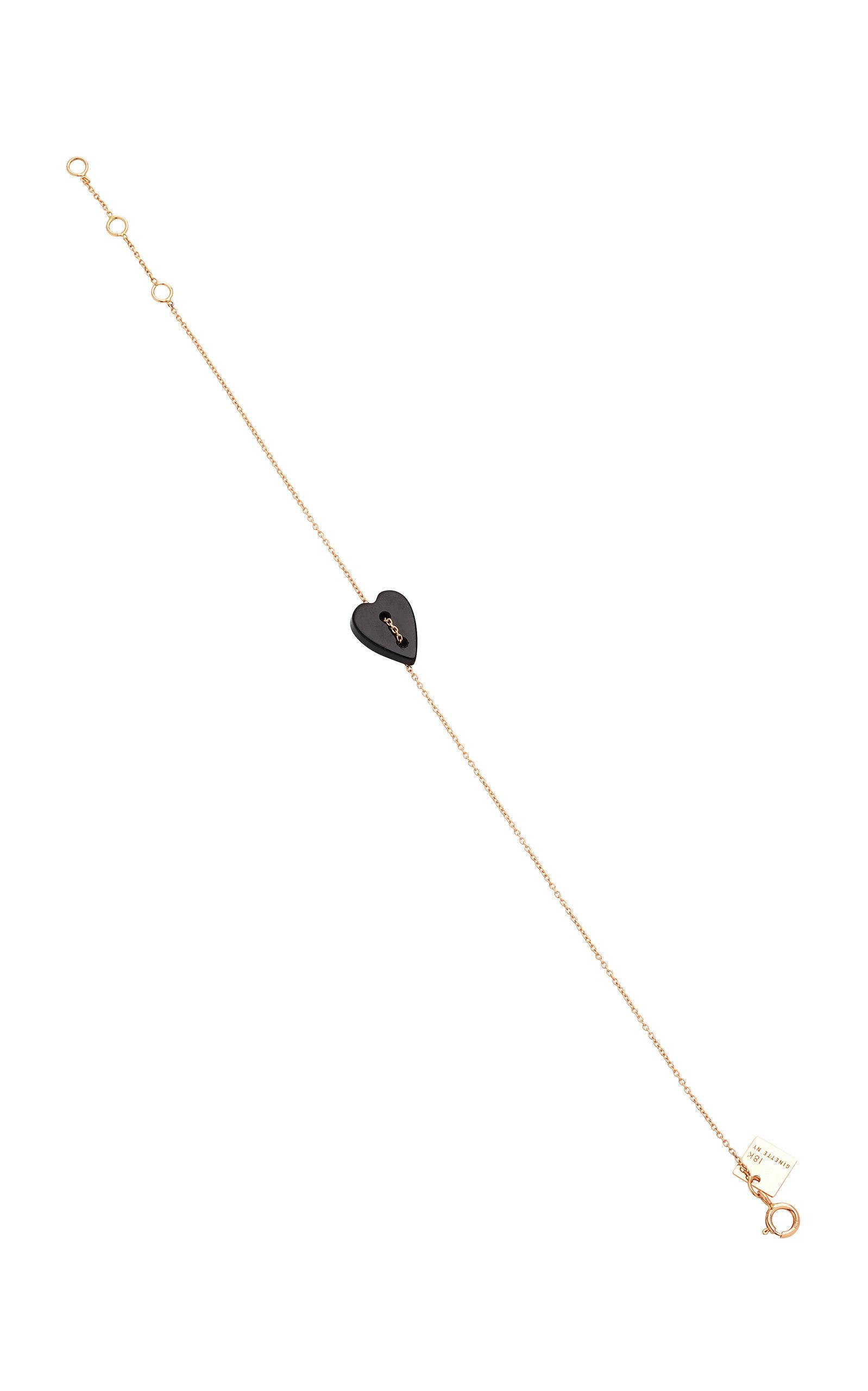 GINETTE NY | Ginette NY Angèle 18K Rose Gold Onyx Bracelet | Goxip