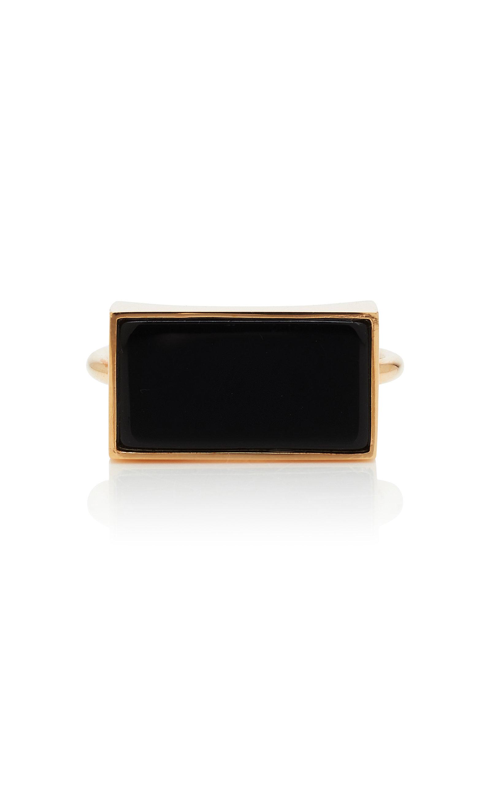 GINETTE NY | Ginette NY 18K Rose Gold Onyx Ring | Goxip