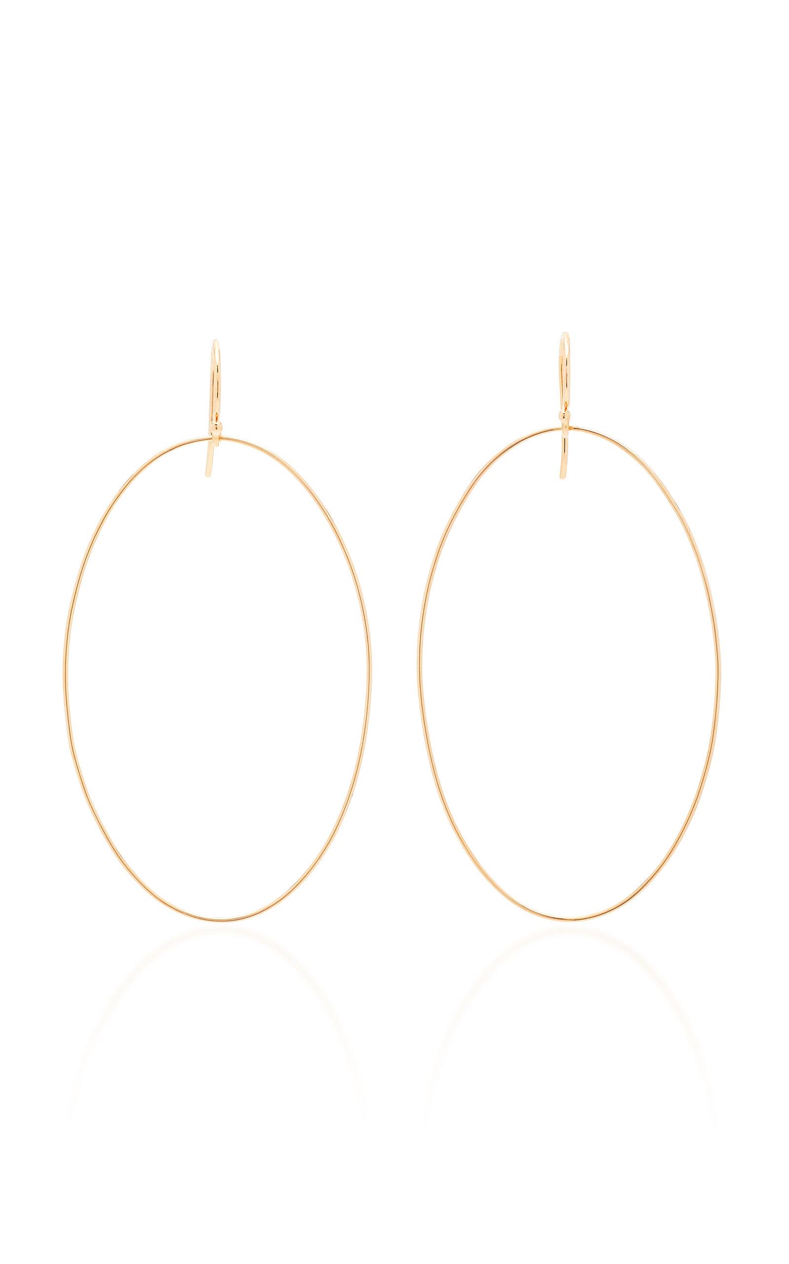 GINETTE NY | Ginette NY Ellipse 18K Rose Gold Earrings | Goxip