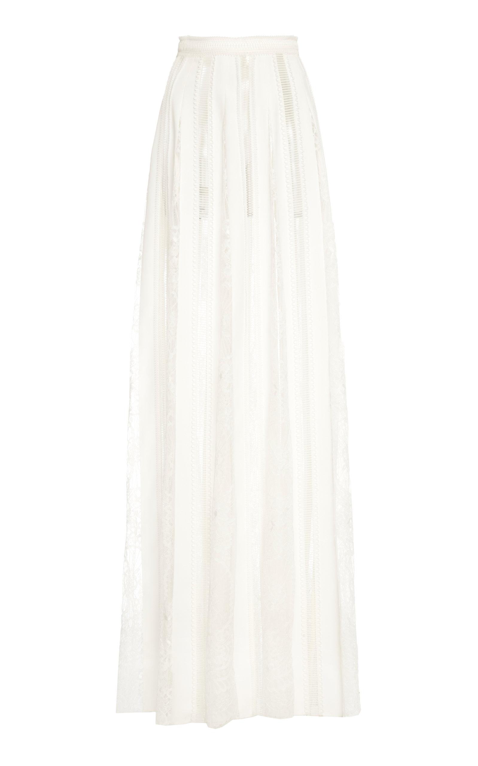 ZUHAIR MURAD | Zuhair Murad Lace Inset Floor Length Skirt | Goxip