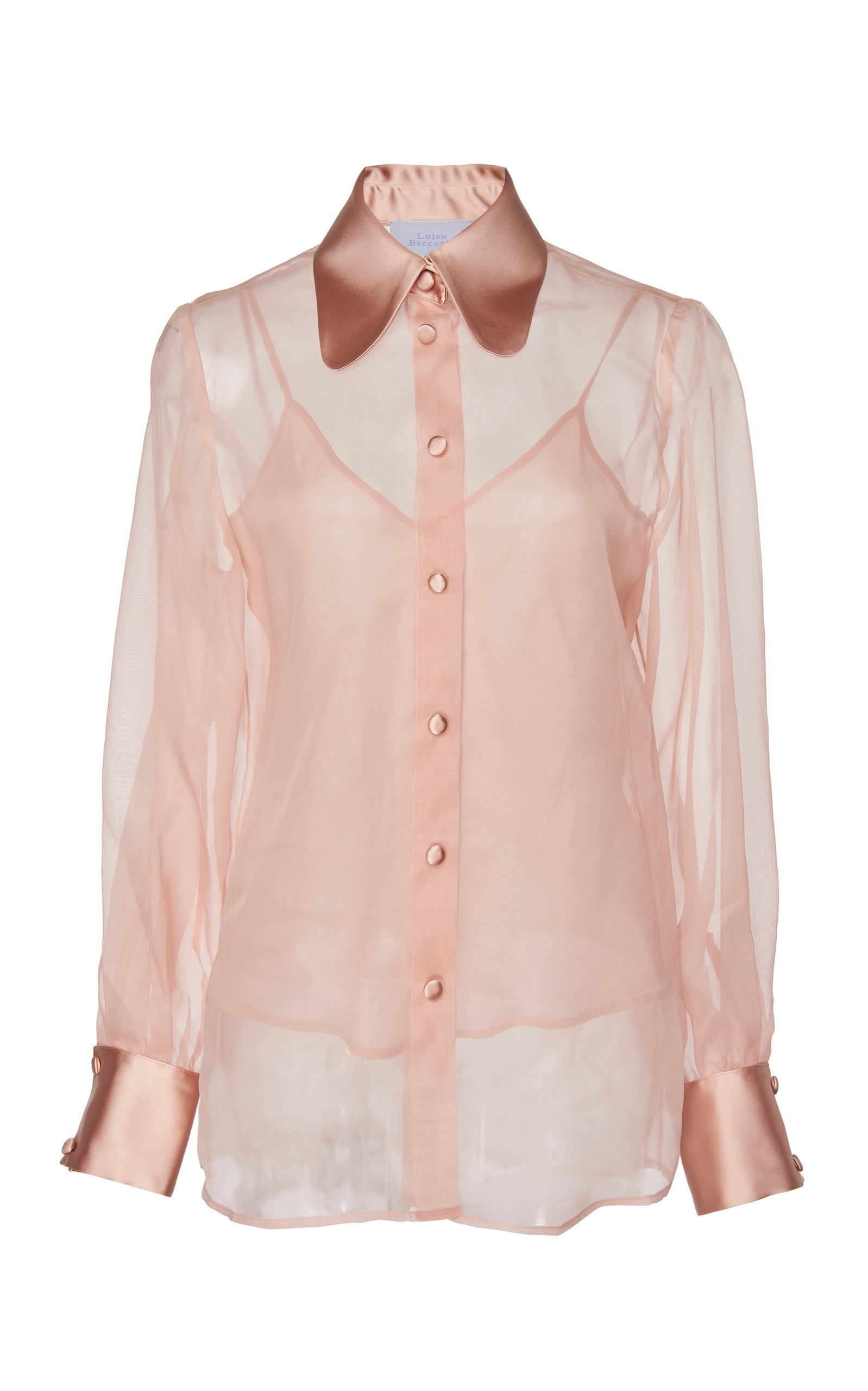 ae5d5df5c44ec2 Luisa BeccariaSilk Chiffon Blouse With Satin Collar. CLOSE. Loading