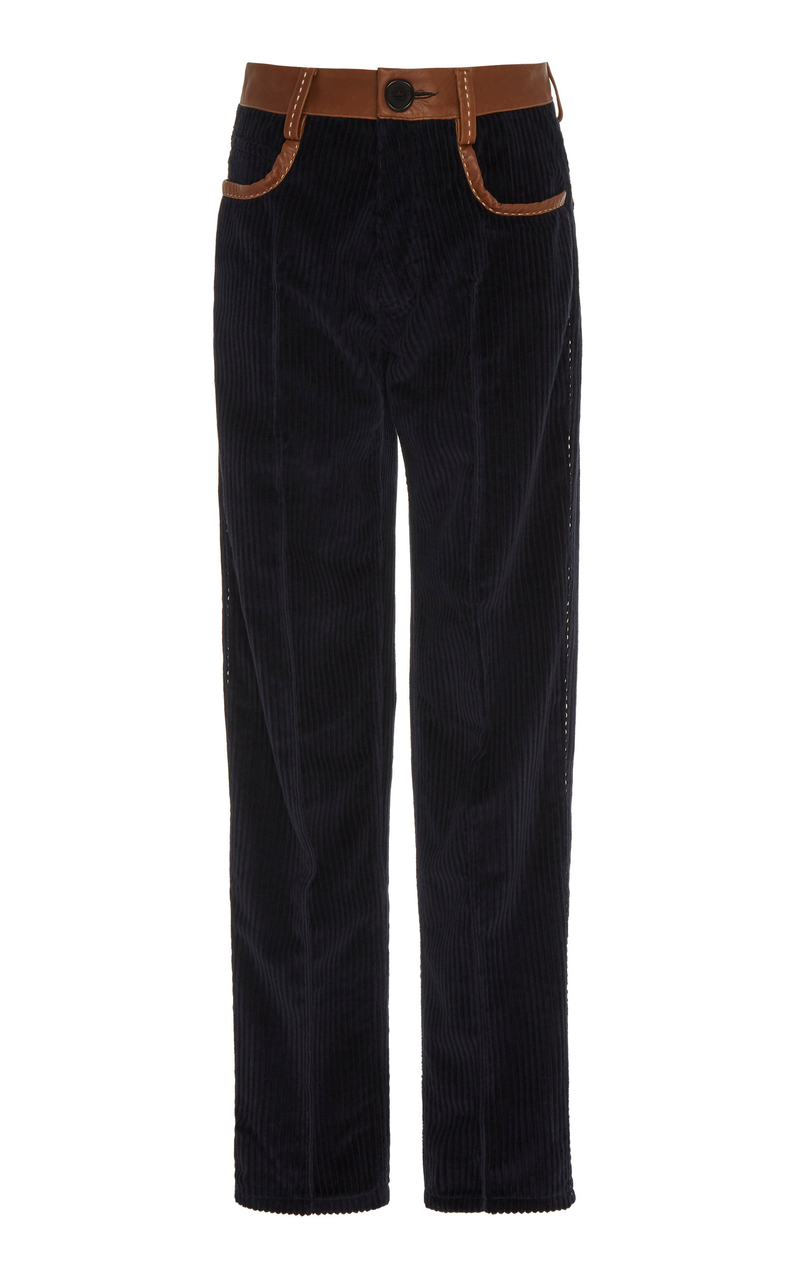 Leather Trimmed Cotton Corduroy Straight Leg Pants by Wales Bonner