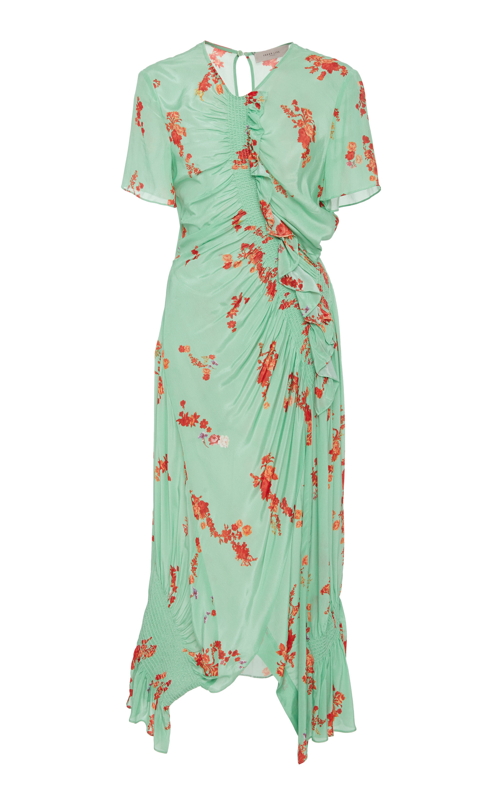 Serelida Shirred Floral Print Midi Dress by Preen Line