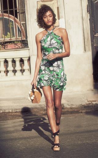 08e3621c0f9e AlexisErica Floral-Print Satin Halterneck Mini Dress