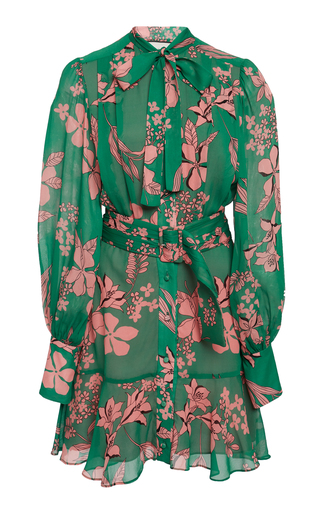 d9e080a4bd86 AlexisTisdale Tie-Detailed Floral-Print Chiffon Mini Dress
