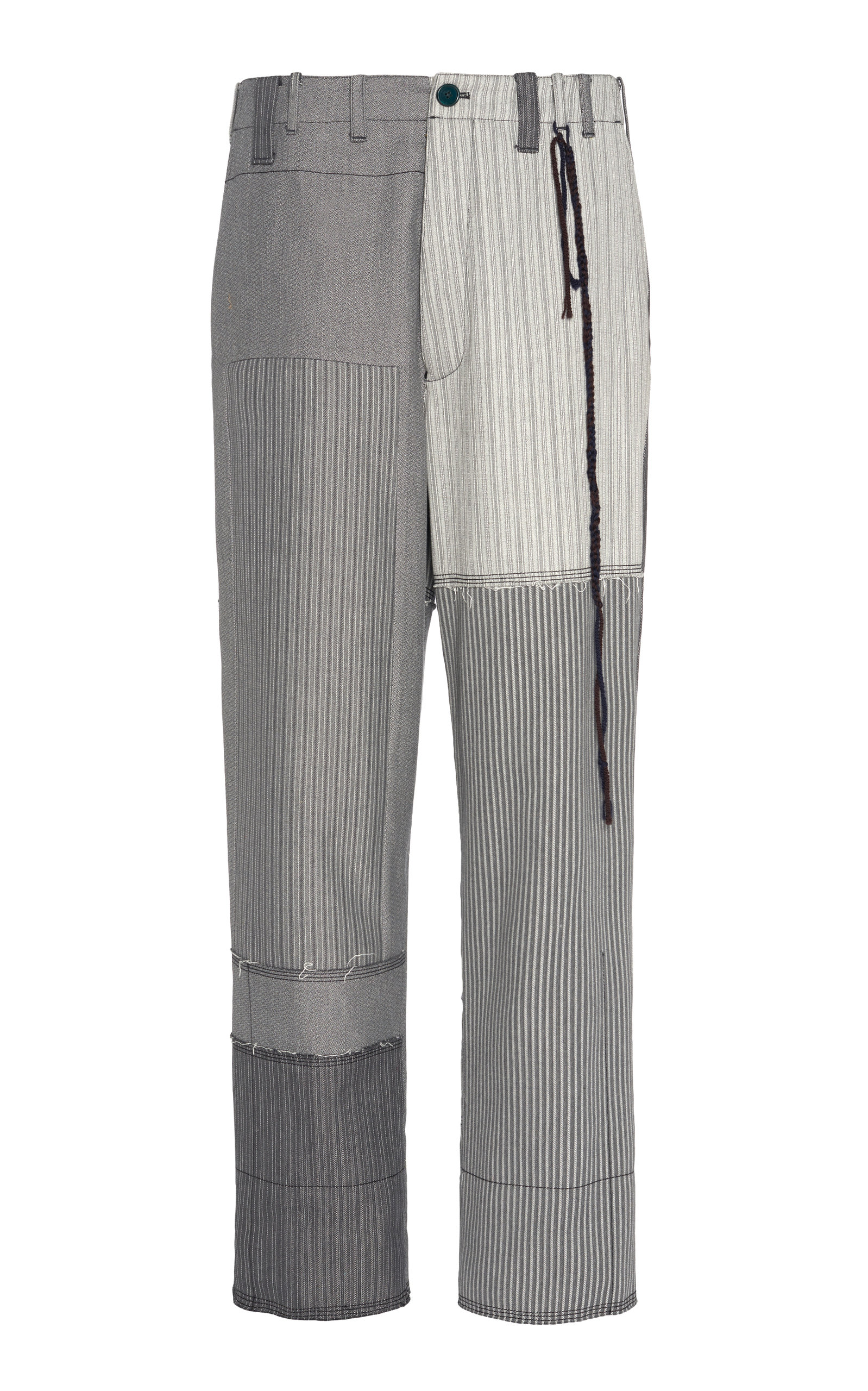 Patchwork Striped Straight Leg Cotton Chinos by Federico Curradi