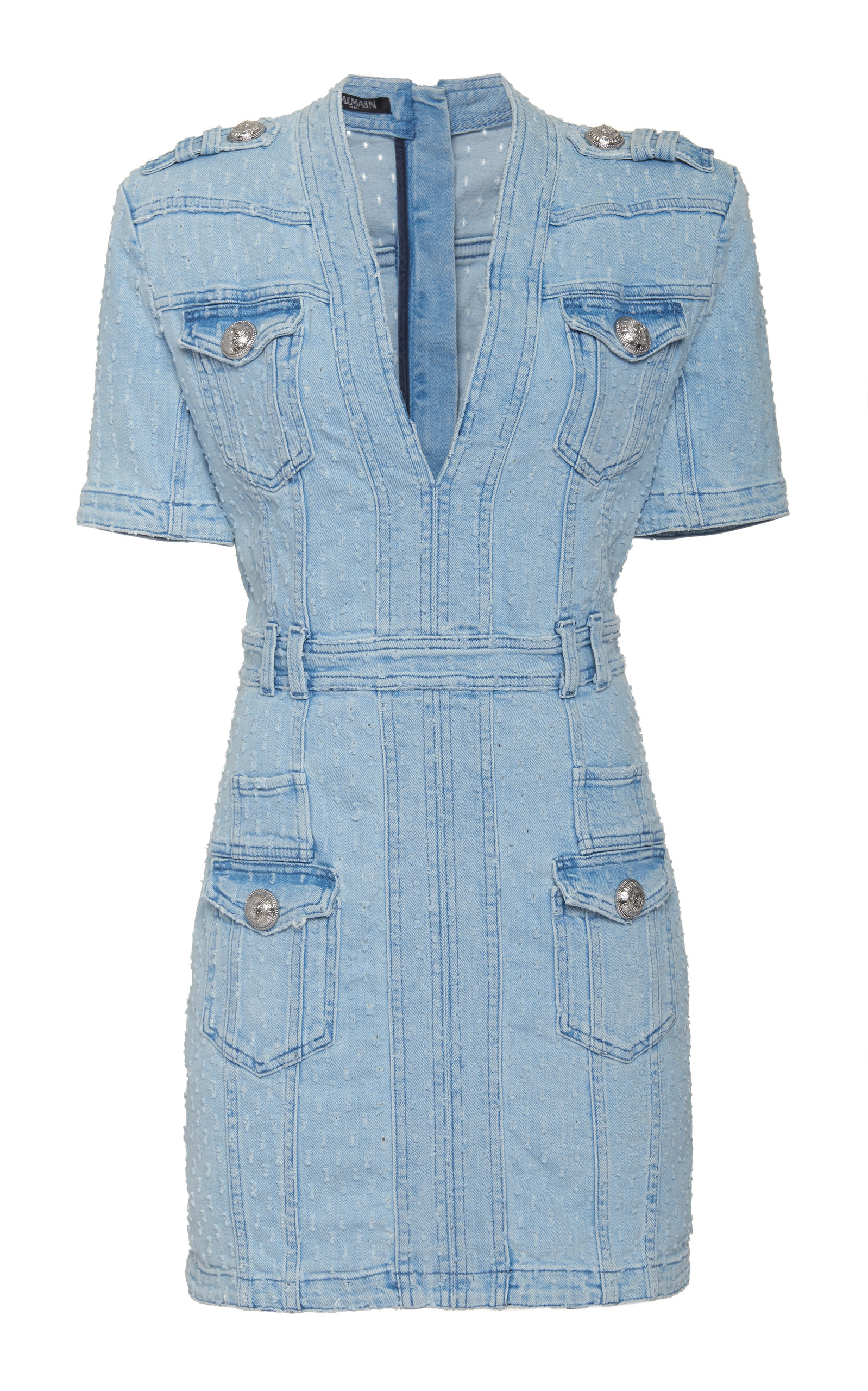 Balmain Dress Laser Dot Denim Mini Dress