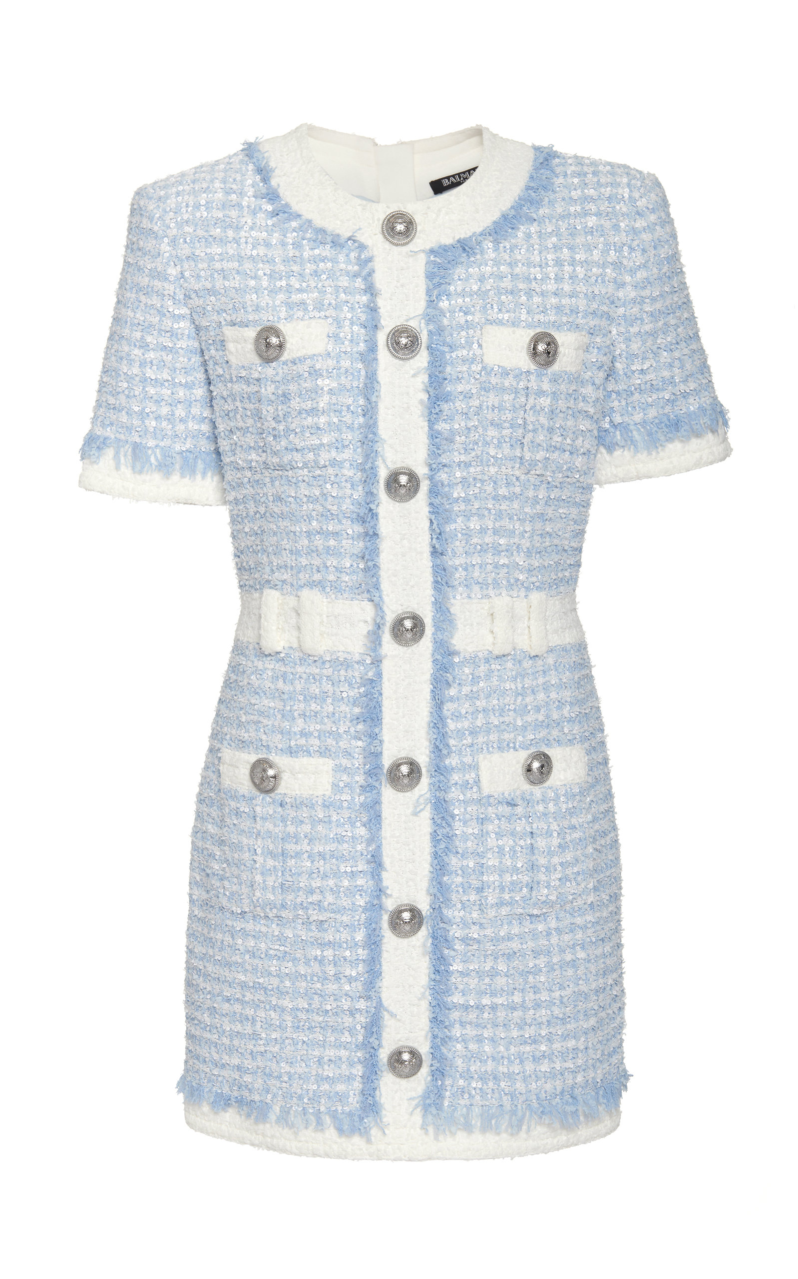 Balmain Dress Buttoned Tweed Mini Dress