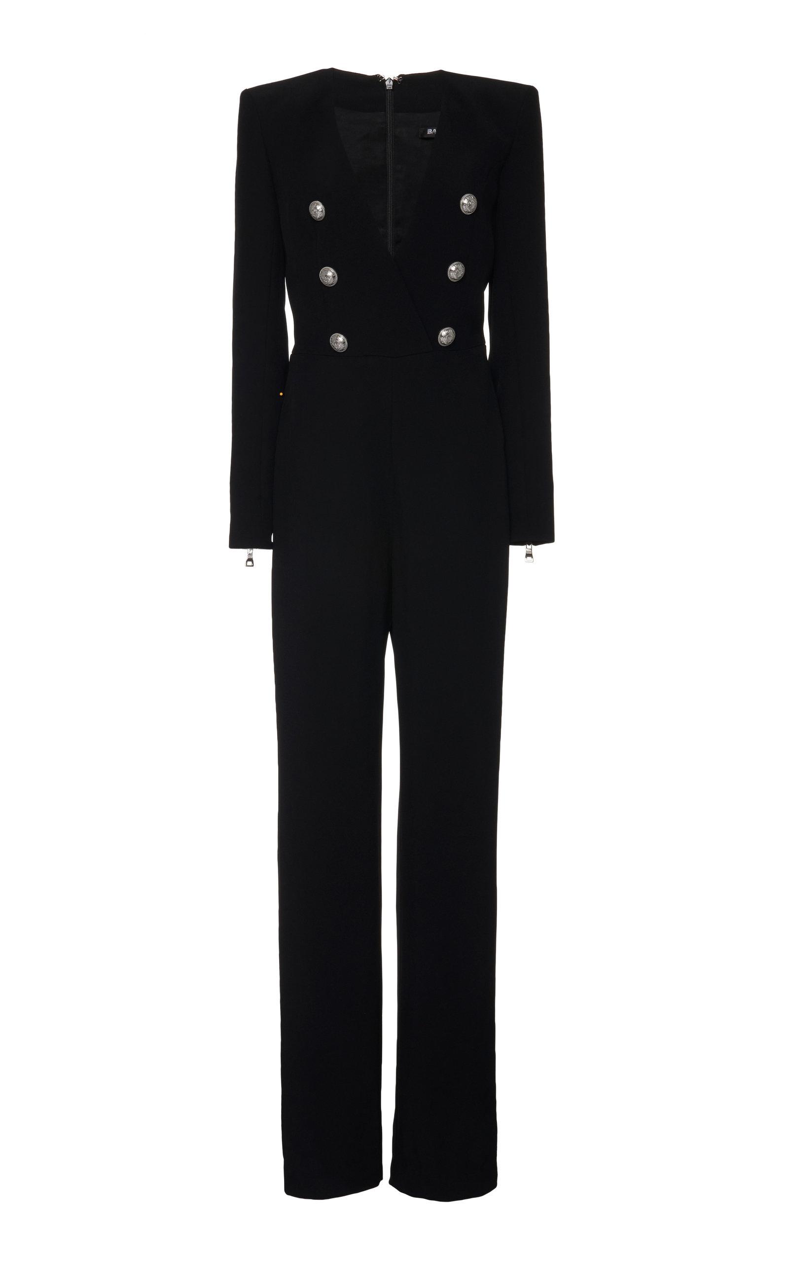 Balmain Suits V-Neck Flared Crepe Jumpsuit