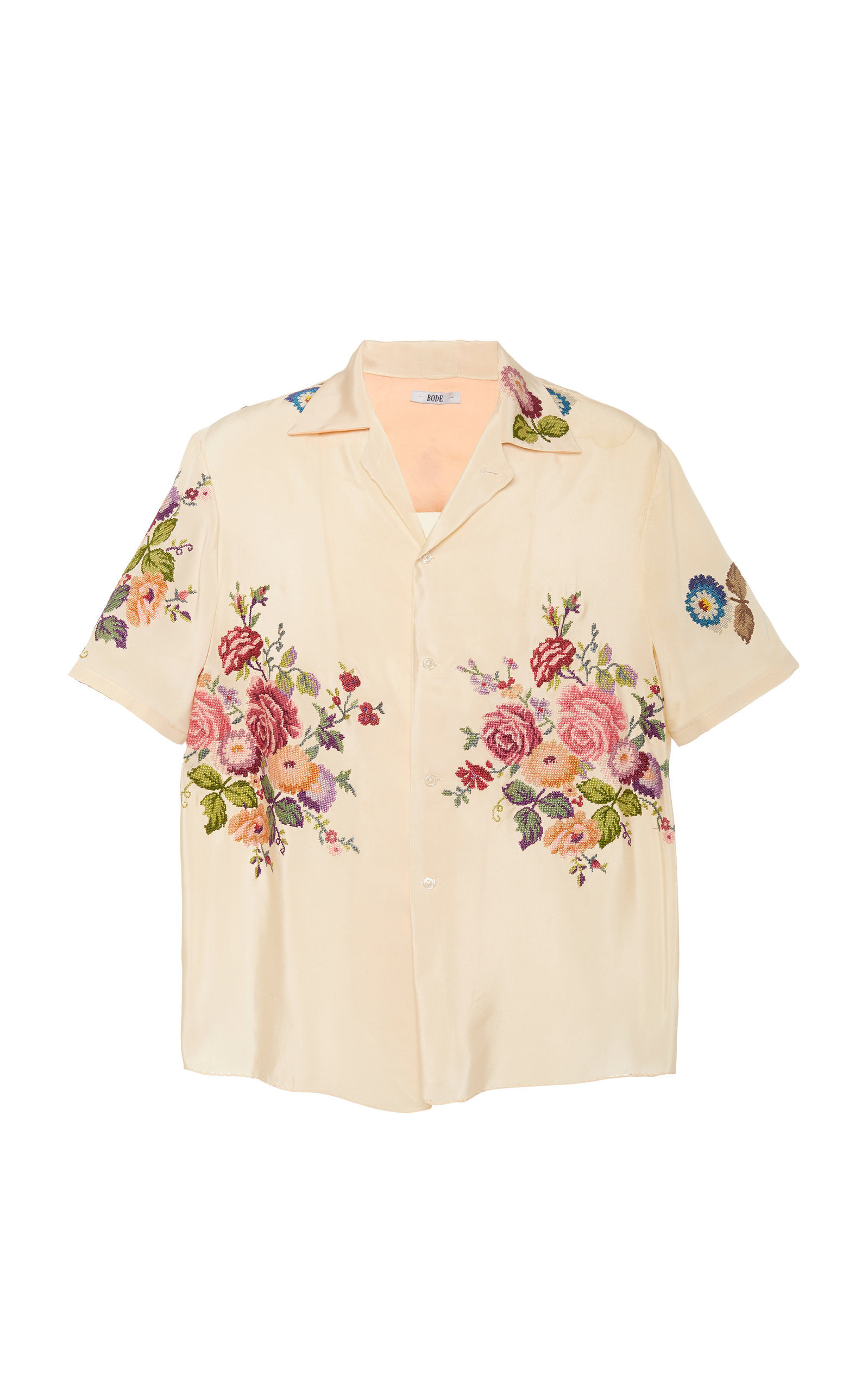 71cbfe22c3 Camp-Collar Floral-Embroidered Silk Shirt