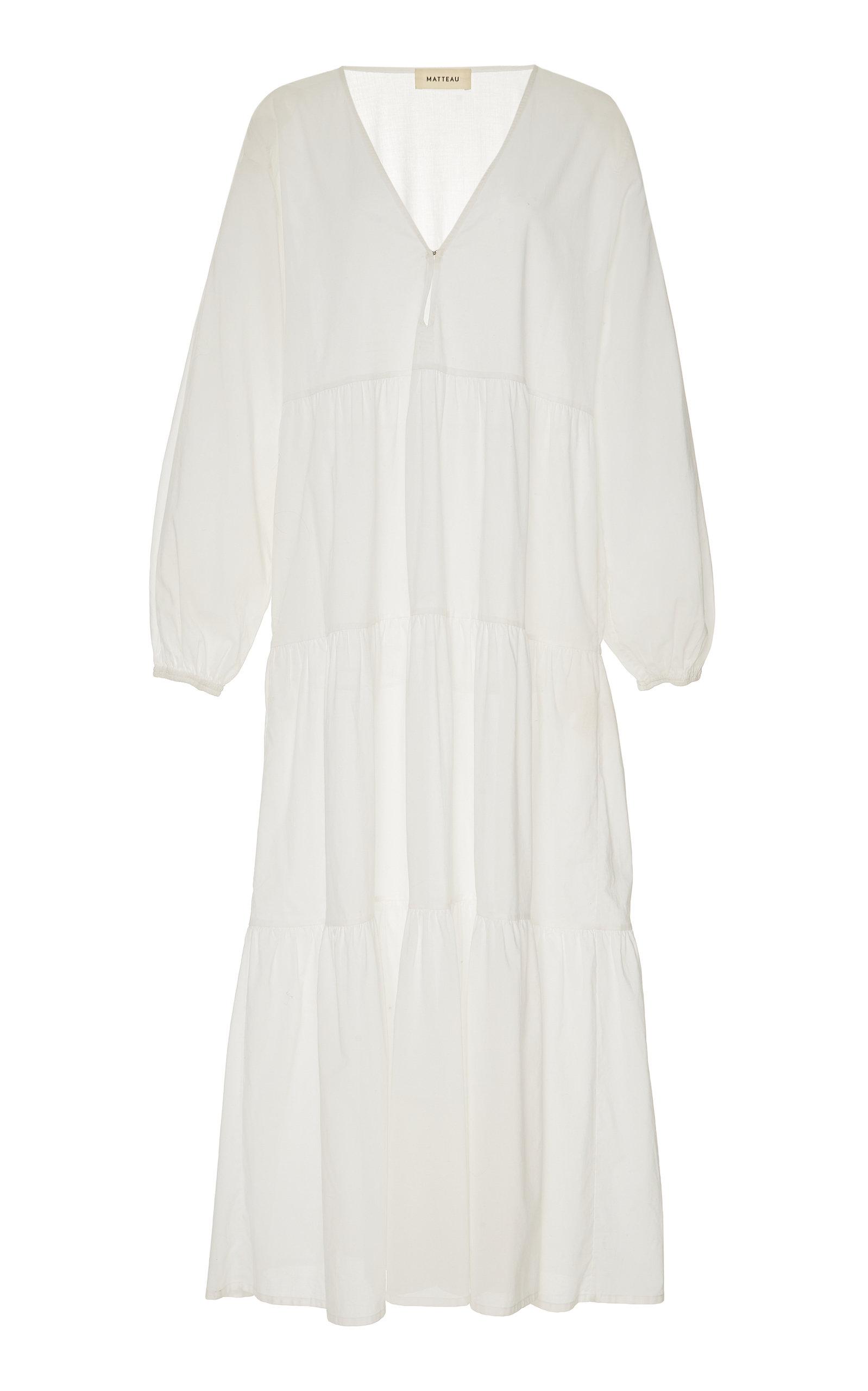 5ce228446e5 Matteau SwimTiered Cotton-Poplin Midi Dress. CLOSE. Loading