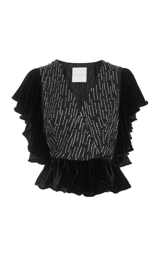 MARKARIAN | Markarian Exclusive Upside Down Crystal-Embellished Velvet Top | Goxip