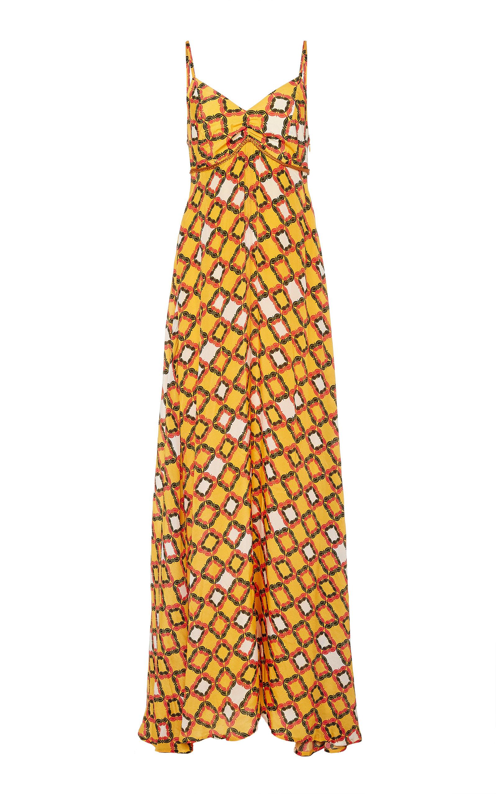 Shirin Sunset Printed Braid Trimmed Crepe Maxi Dress by Verandah