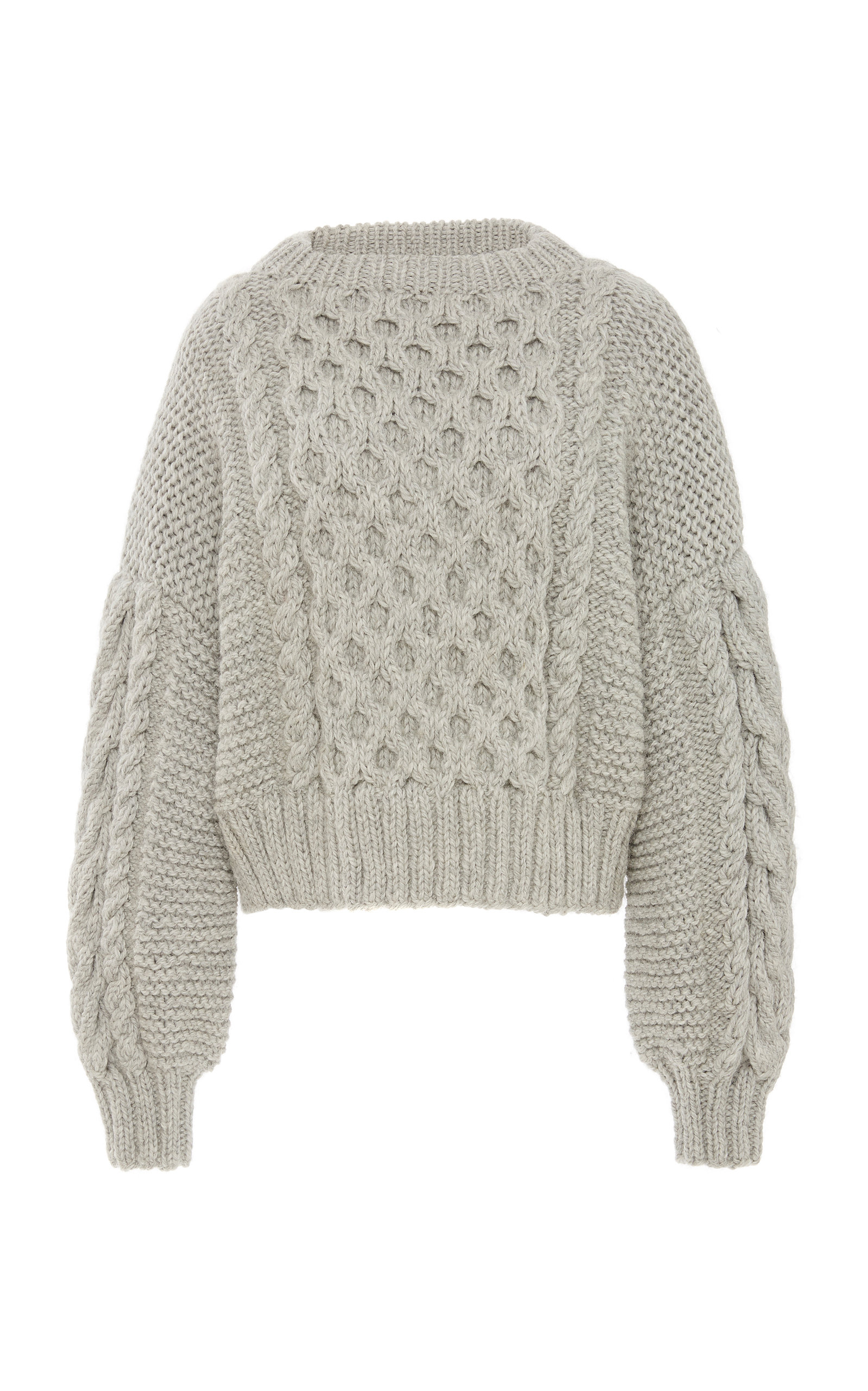 I LOVE MR. MITTENS | I Love Mr. Mittens Aran Cropped Wool Cable-Knit Sweater | Goxip