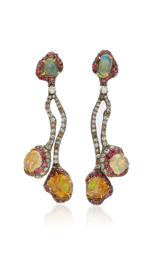 ARUNASHI | Arunashi One-Of-A-Kind Fire Opal And Spinel Earrings | Goxip
