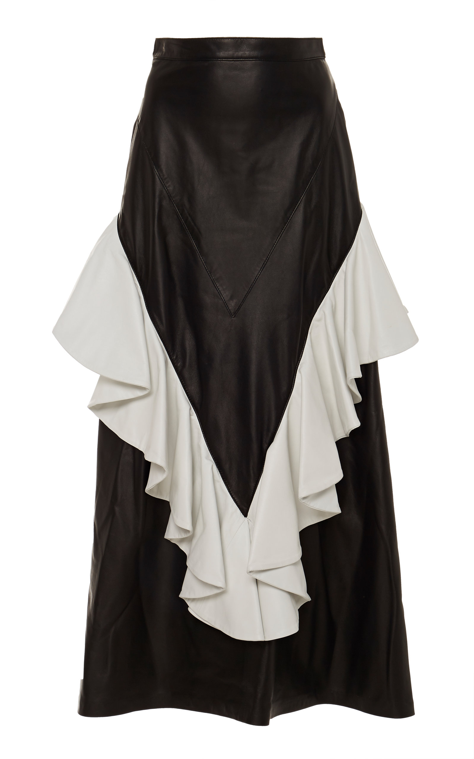5ea530c53c Ruffled A-Line Leather Midi Skirt by Rodarte | Moda Operandi