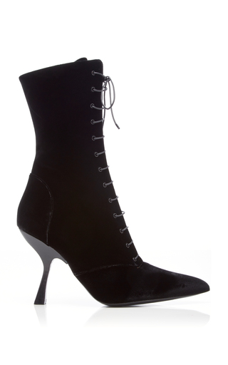 Brock Collection Velvet Lace-Up Boots