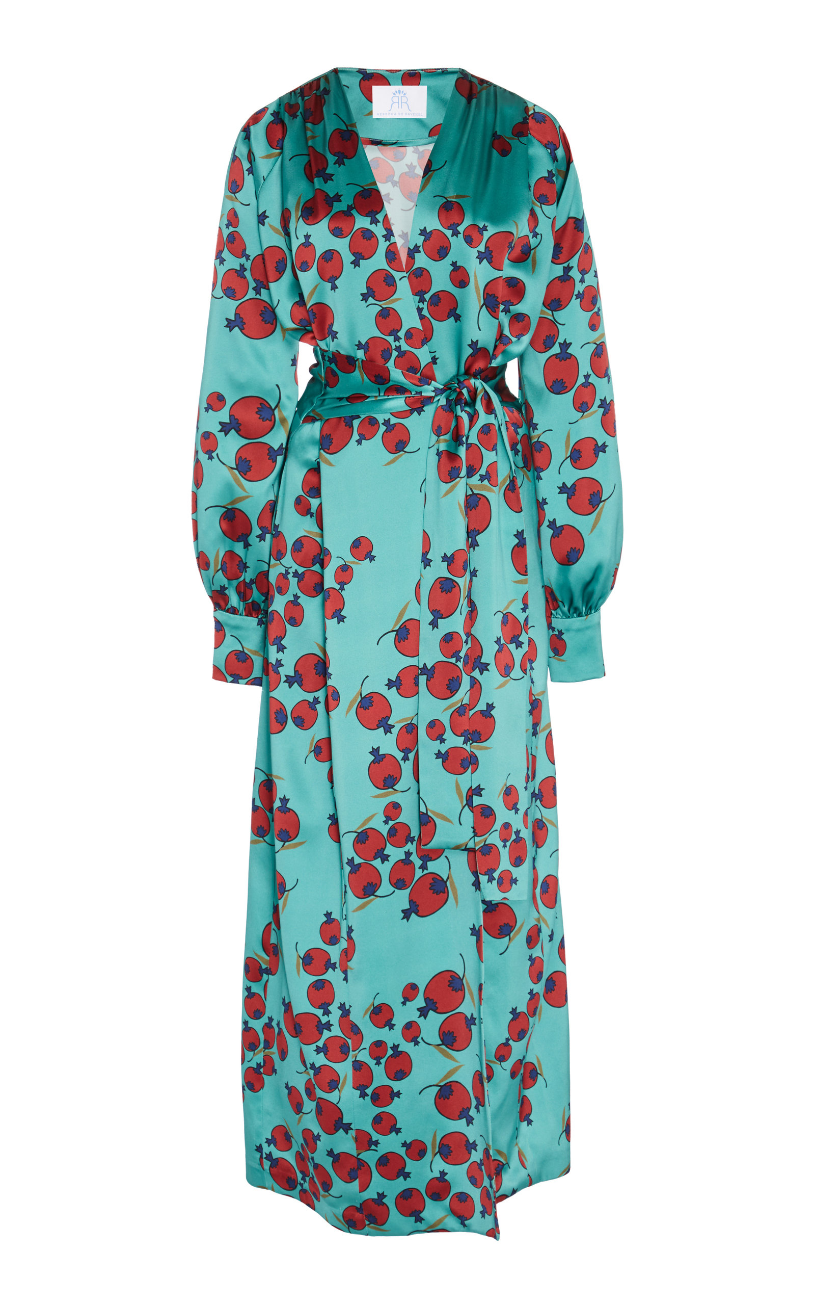 Rebecca De Ravenel Dresses BELTED PRINTED SILK WRAP DRESS