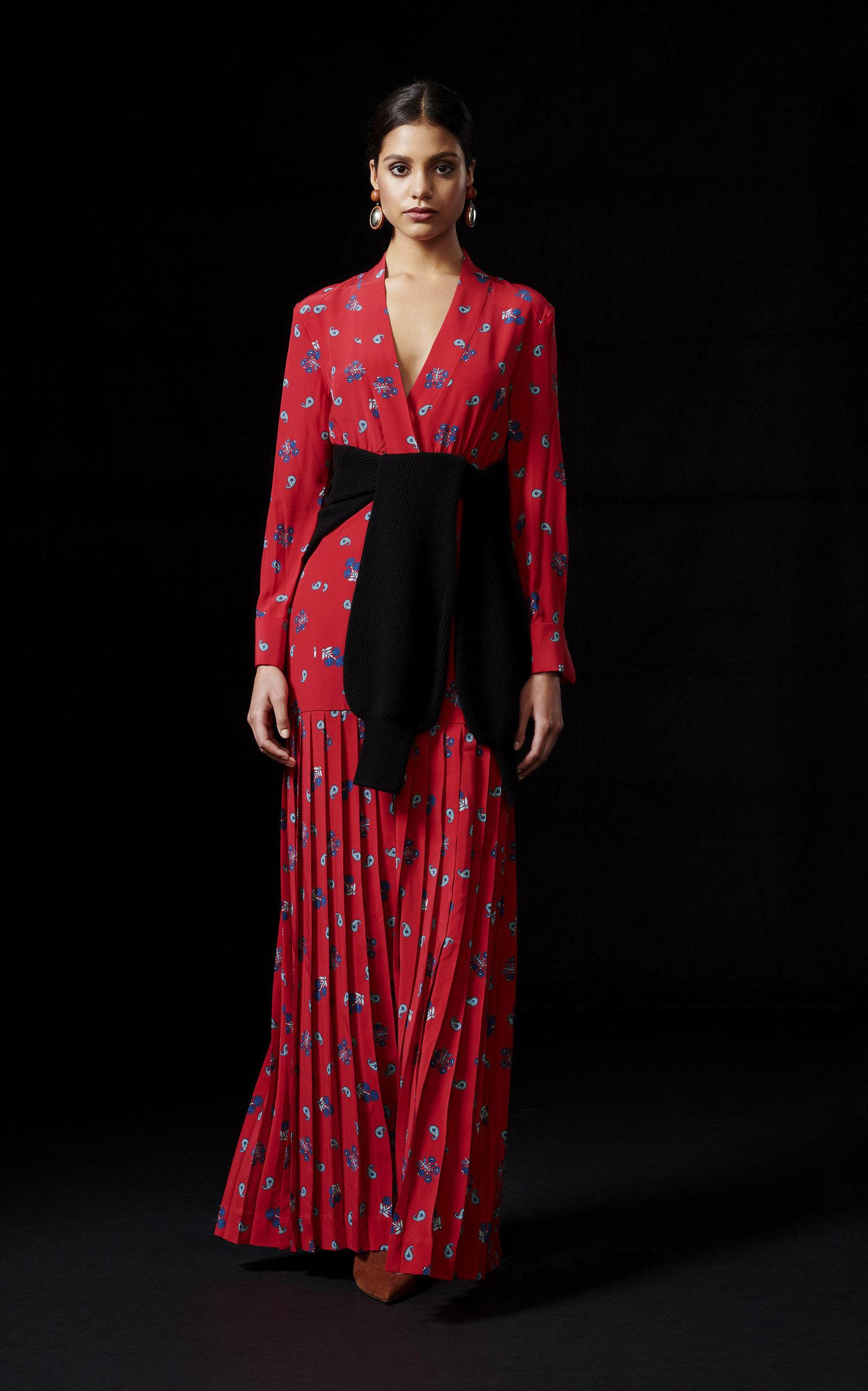 Rebecca De Ravenel Dresses Pleated Mixed-Print Silk Dress